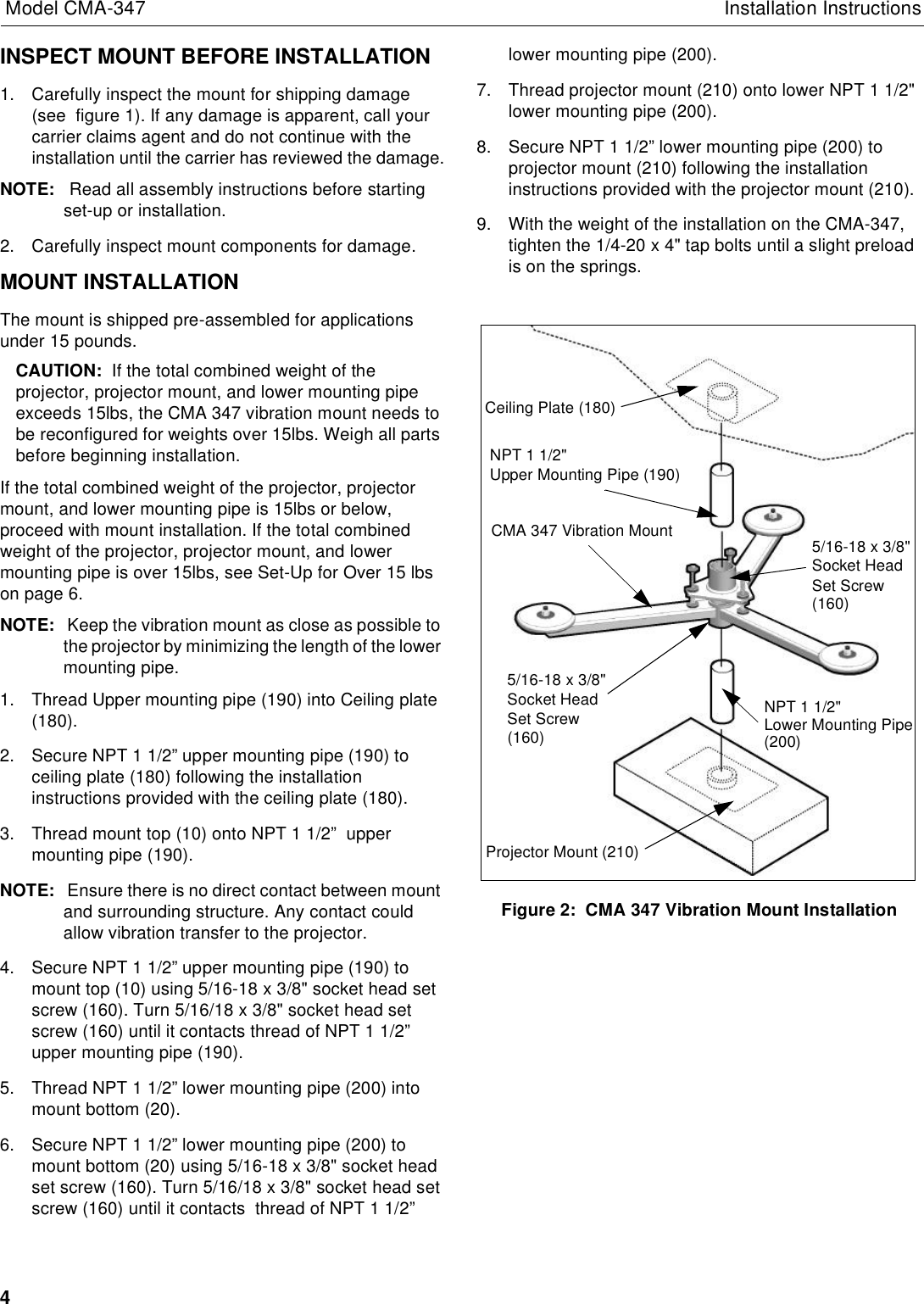 Chief Manufacturing Vibration Mount Cma 347 Users Manual
