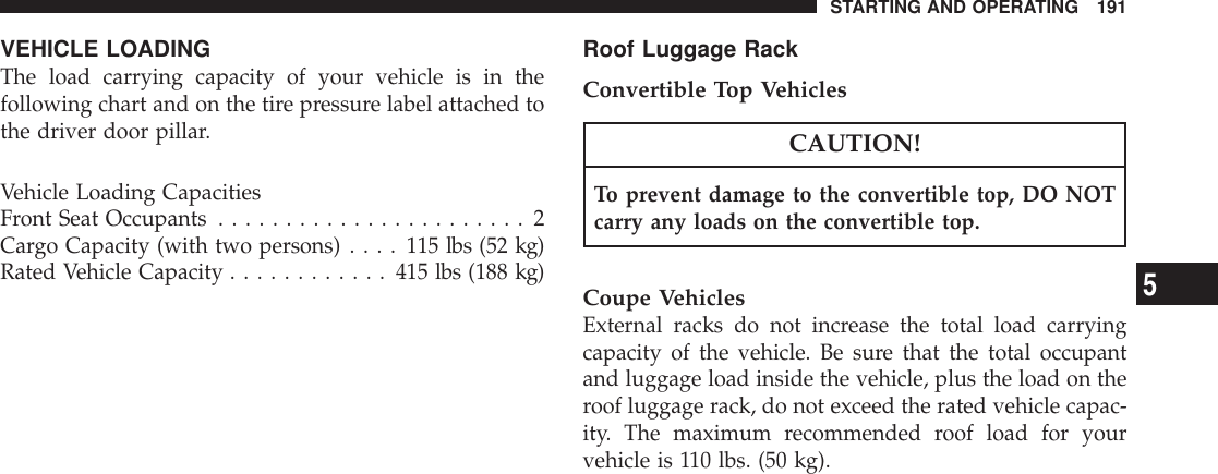 Chrysler 2007 Crossfire Owners Manual