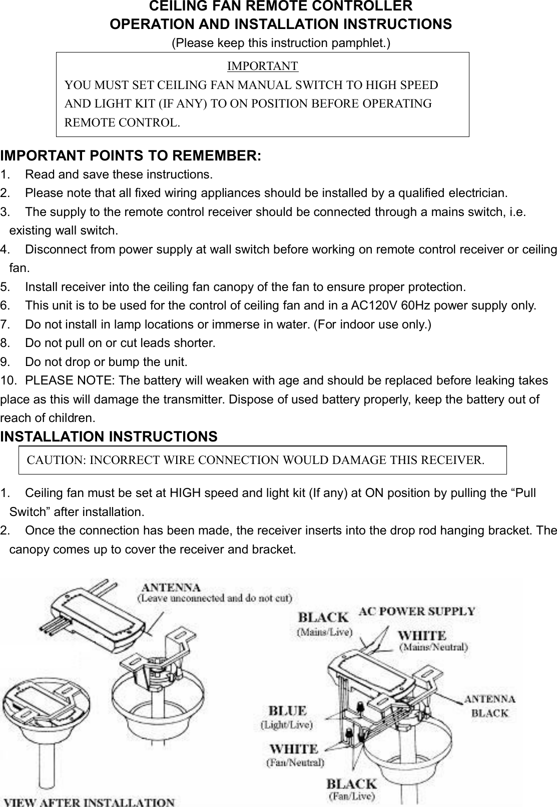 Westinghouse Ceiling Fan Wall Control 7787200 Manual Guide