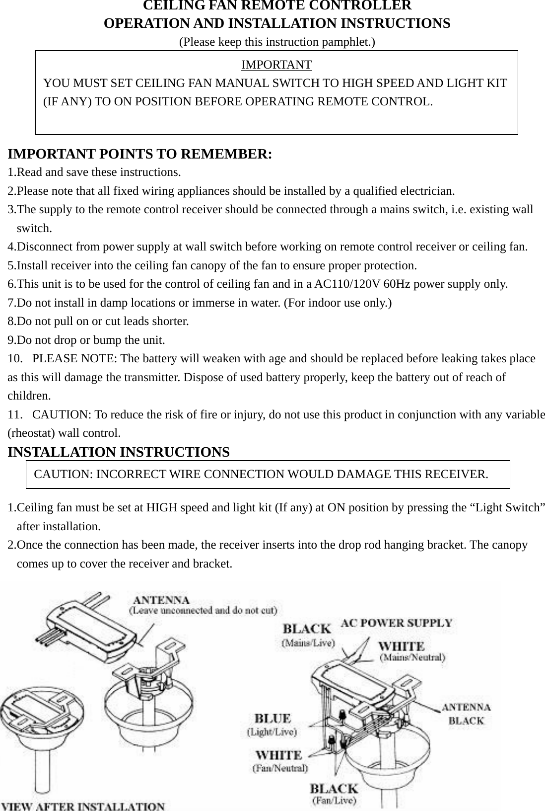 Chungear co ce9601 ceiling fan remote control transmitter user manual publicscrutiny Gallery