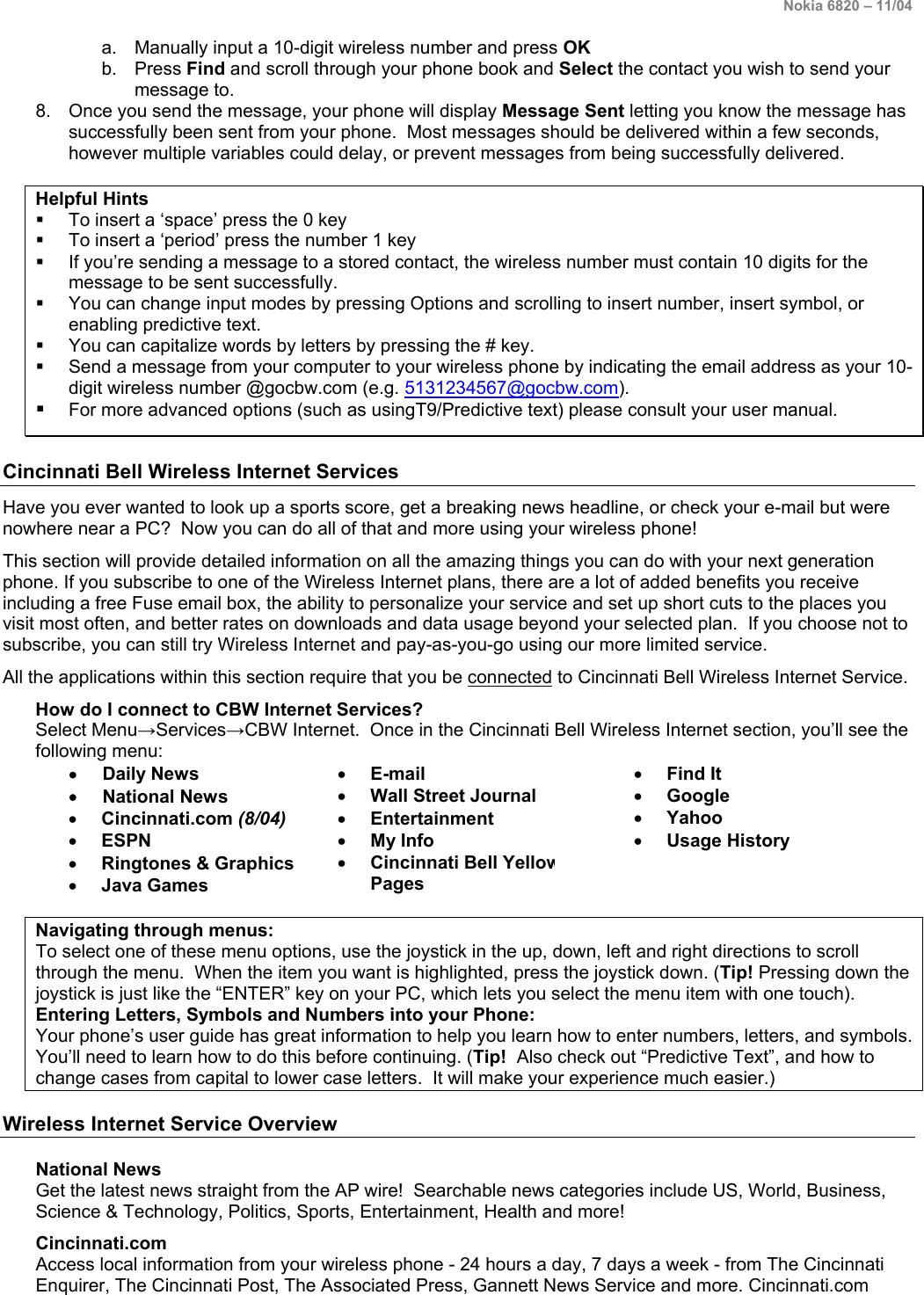 Cincinnati Bell Cell Phone 6820 Users Manual CBW Internet Services
