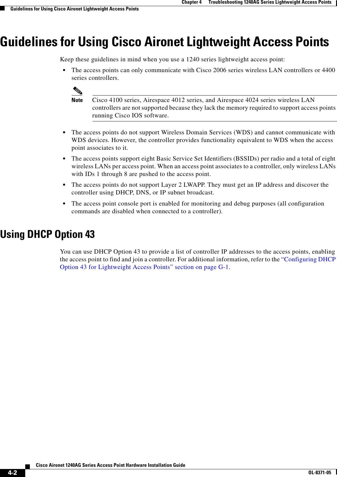 Cisco Systems 1240Ag Users Manual PDF For The Aironet Series