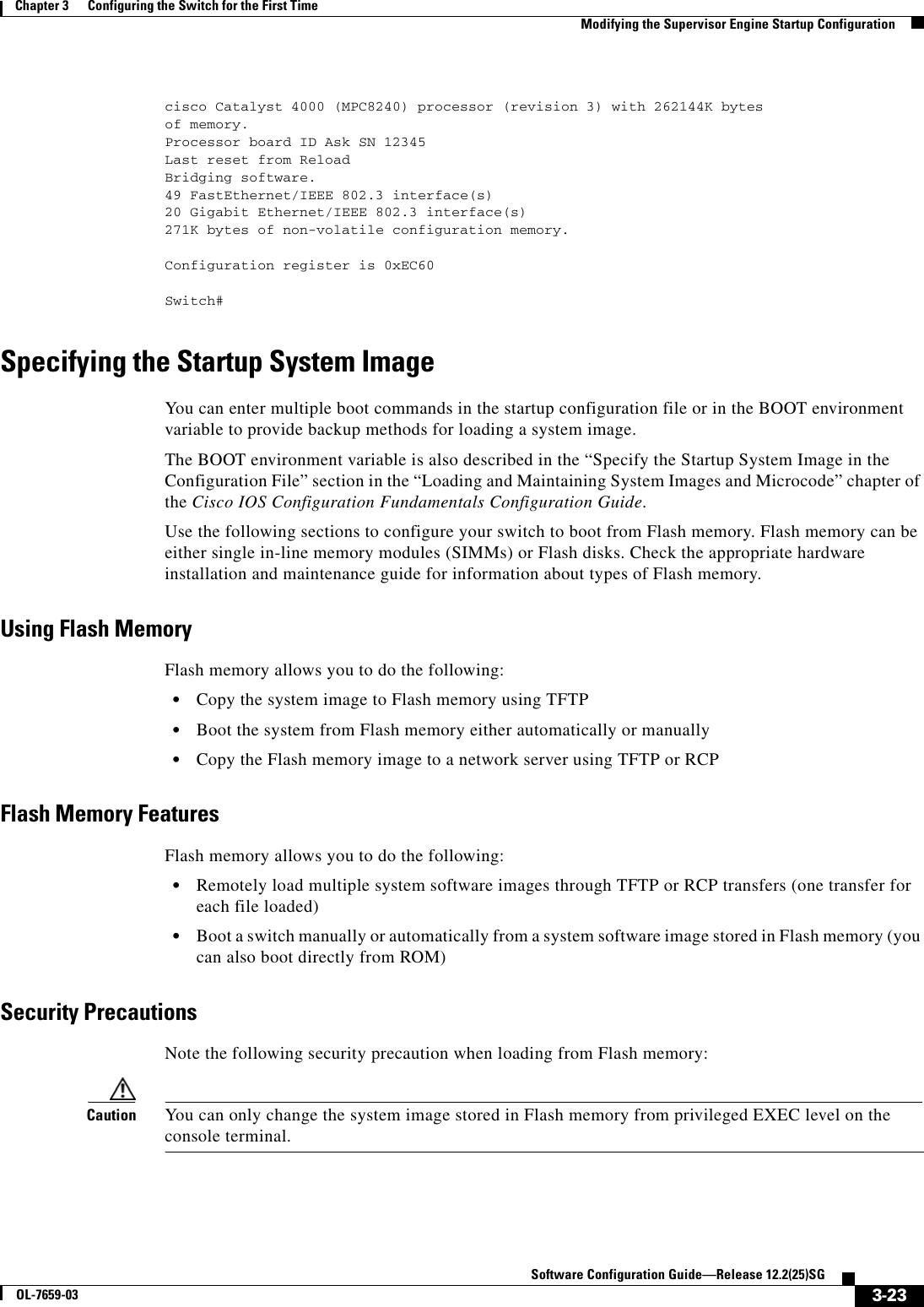 Cisco Boot System Flash