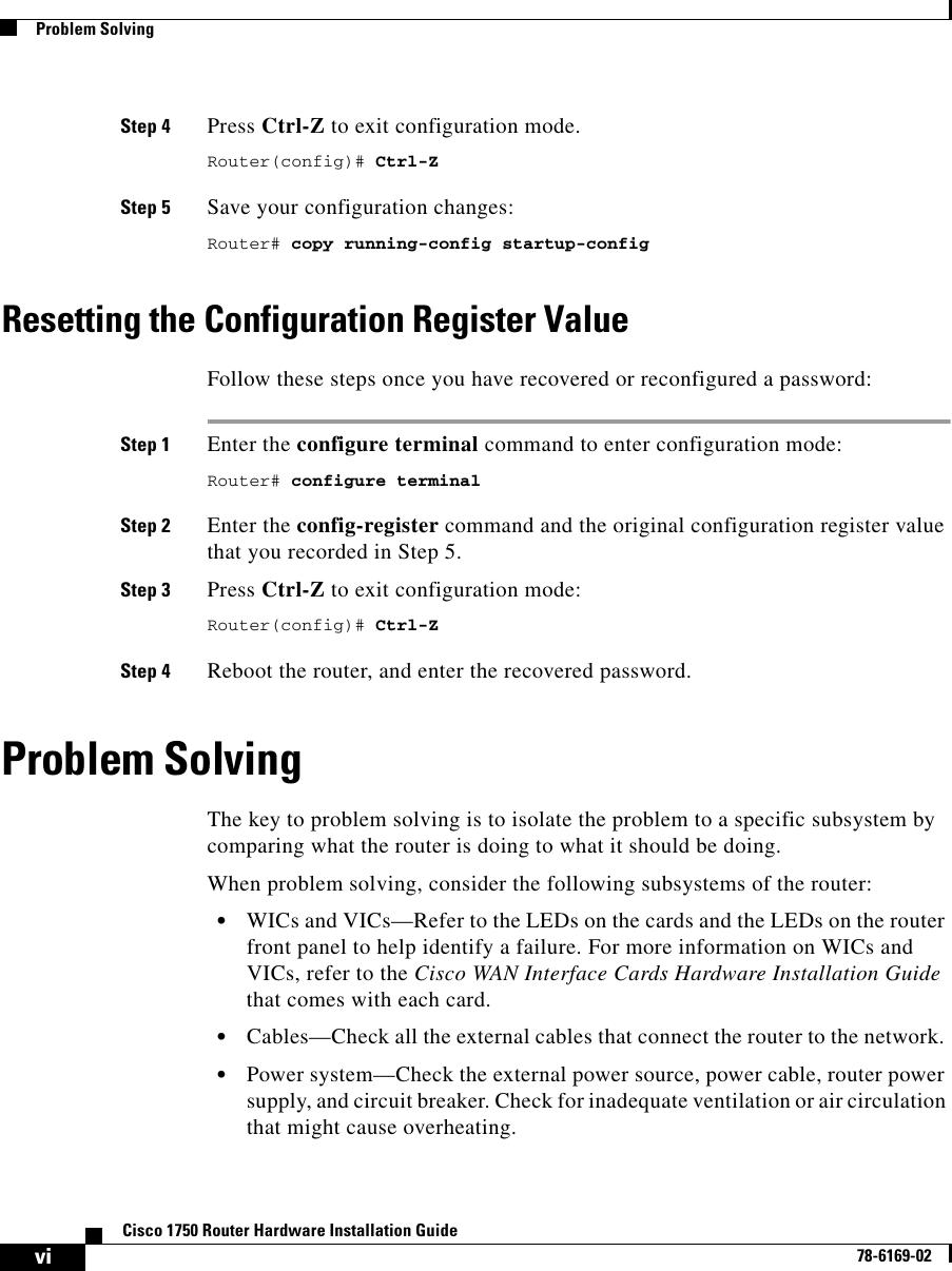 Cisco Systems Cisco1750 Installation Manual
