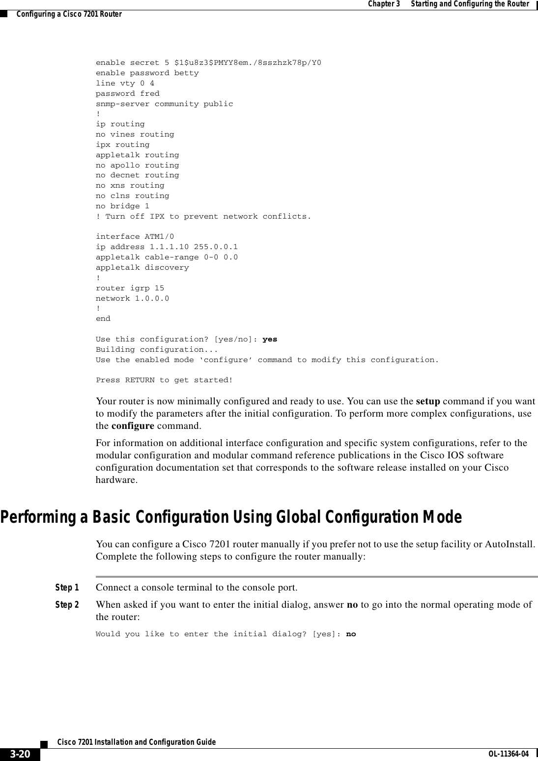 Cisco Systems Cisco7201 Installation And Configuration Guide