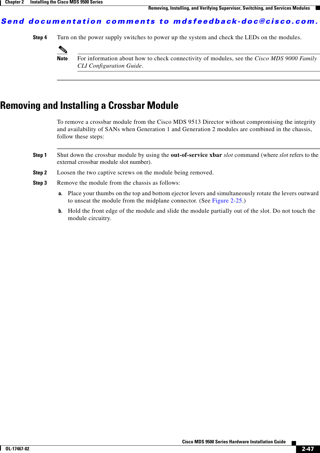 Cisco Systems Mds 9500 Series Installation Manual