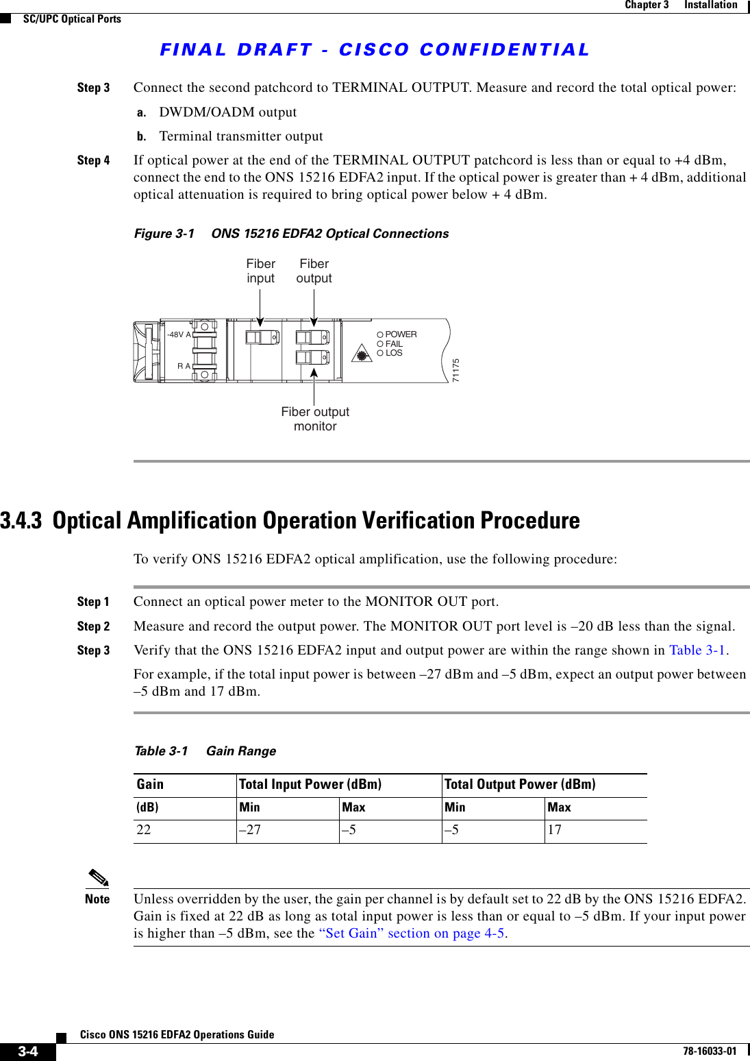 Cisco Systems Ons 15216 Edfa2 Operation Manual Operations Guide, R2 3