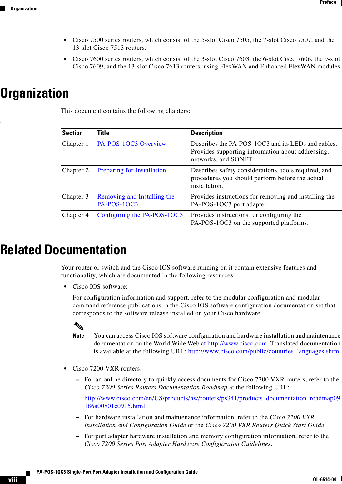 Cisco Systems Pa Pos 1Oc3 Installation And Configuration Guide