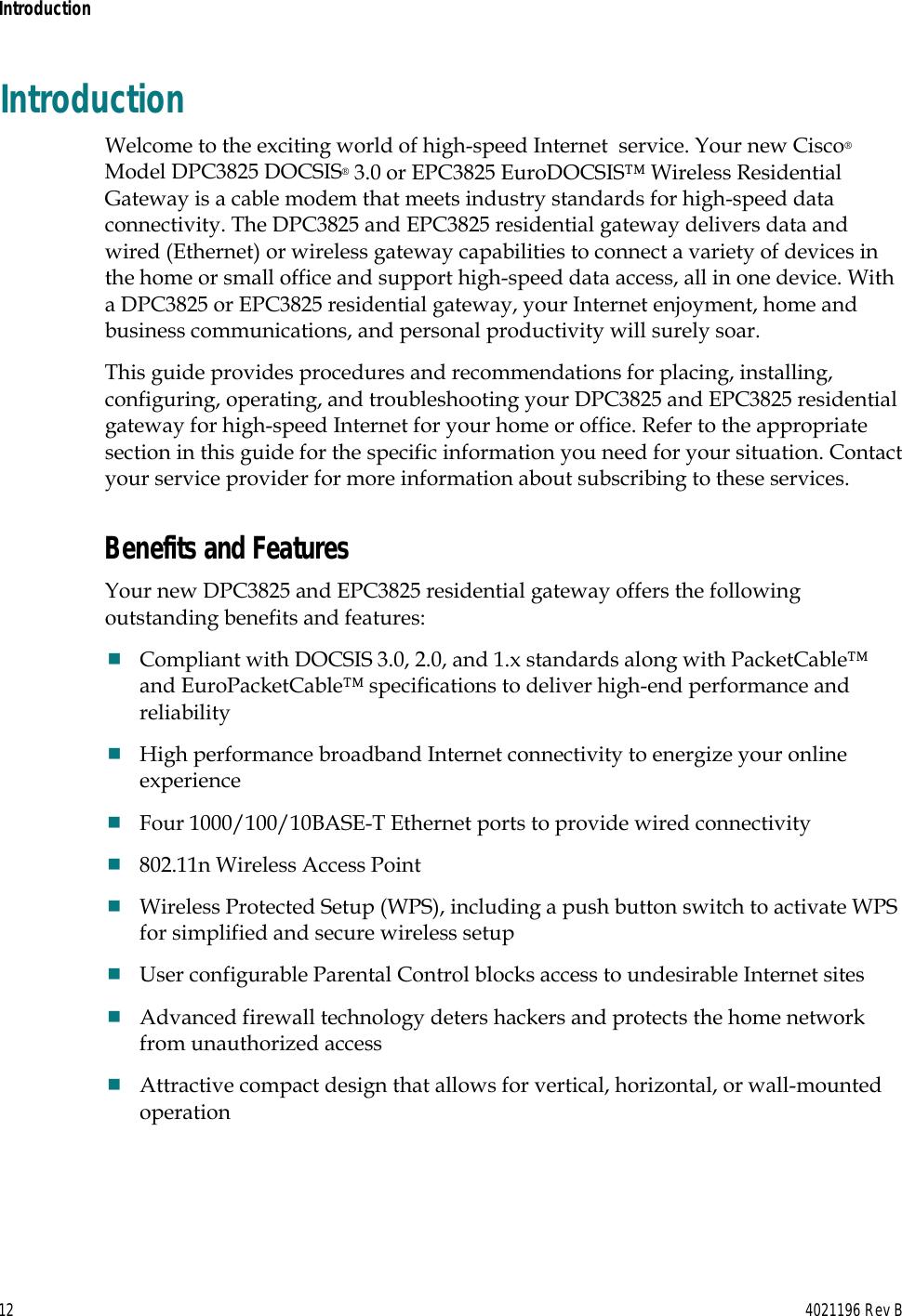 Cisco Dpc3825 Users Manual And EPC3825 8x4 DOCSIS 3 0