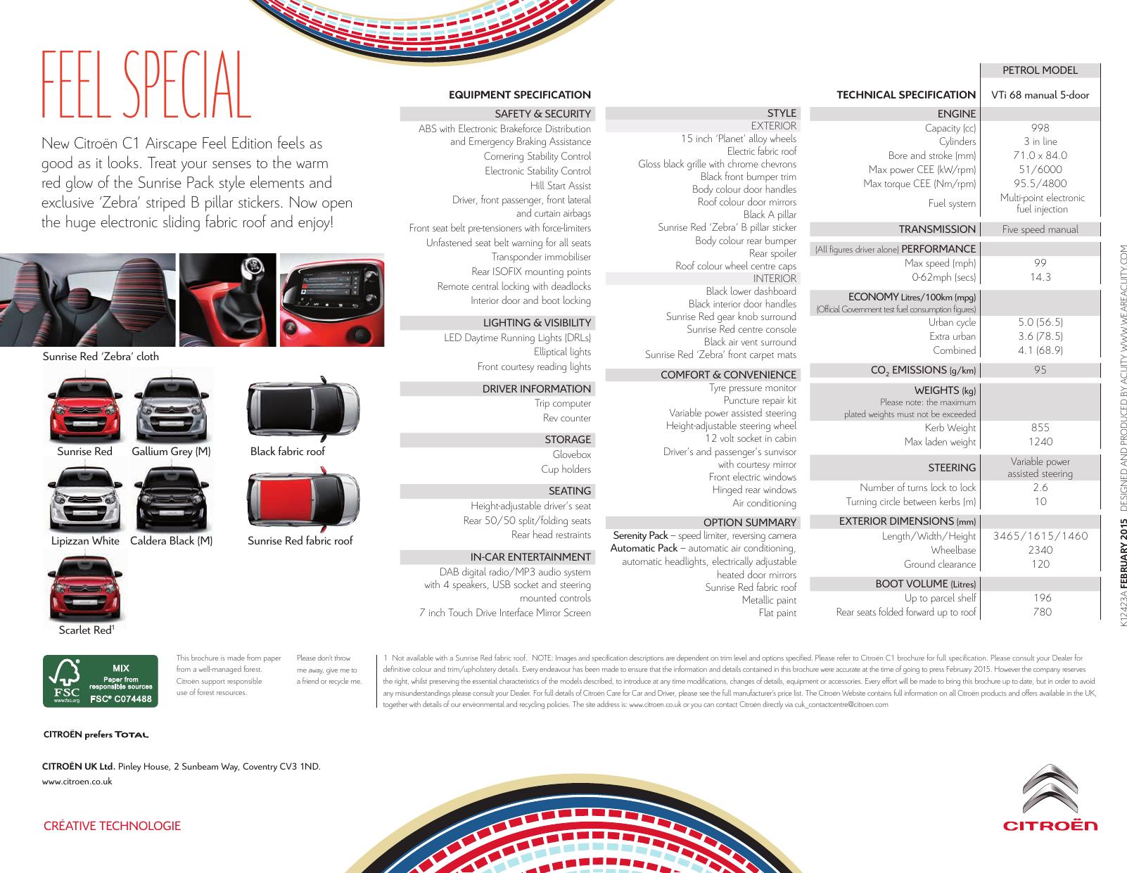 Citroen C1 Brochure Pdf