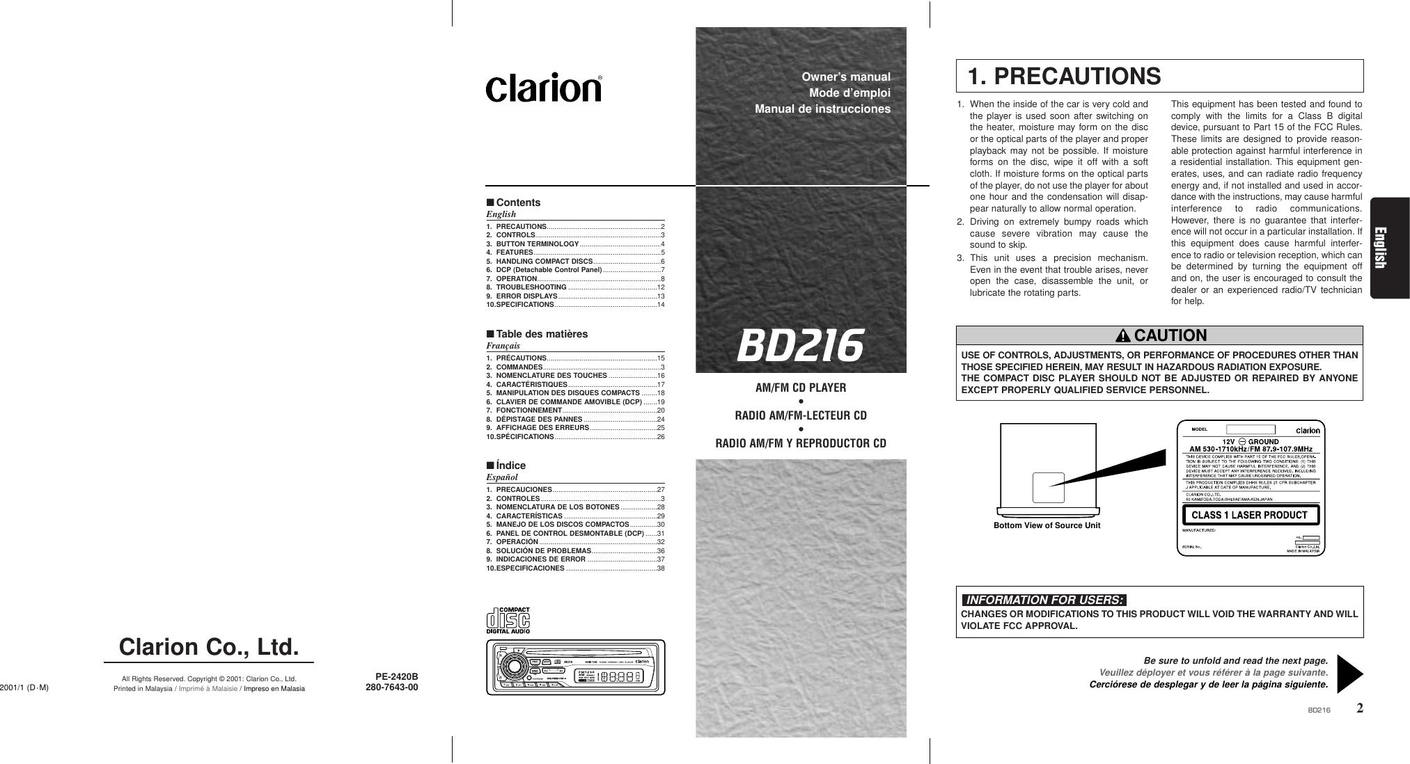 Clarion Bd216 Wiring Diagram