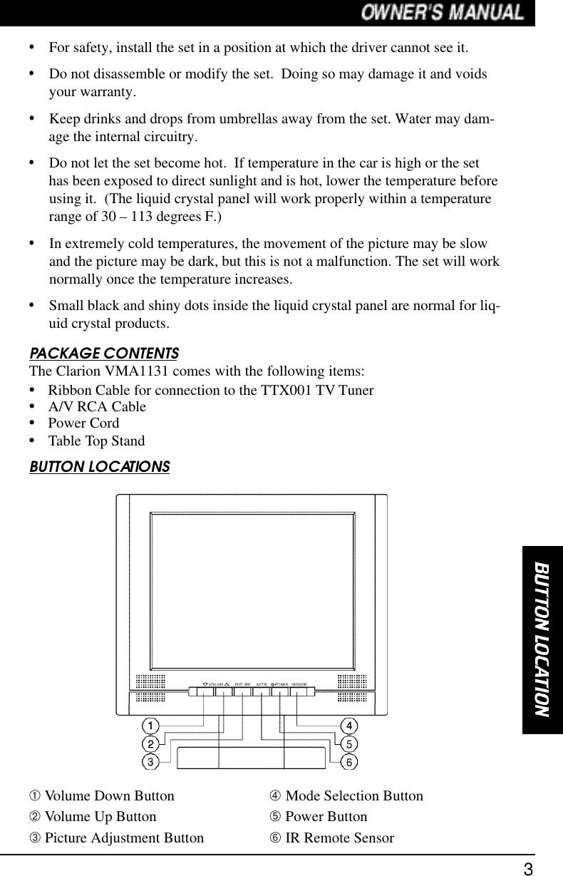 Clarion Vma1131 Users Manual