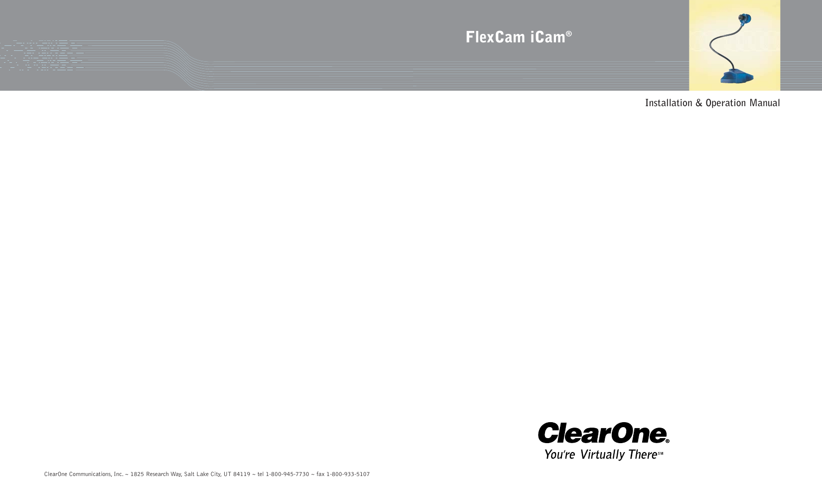 Clearone Camcorder 910 171 101 Pal Users Manual FlexCam_iCam_man