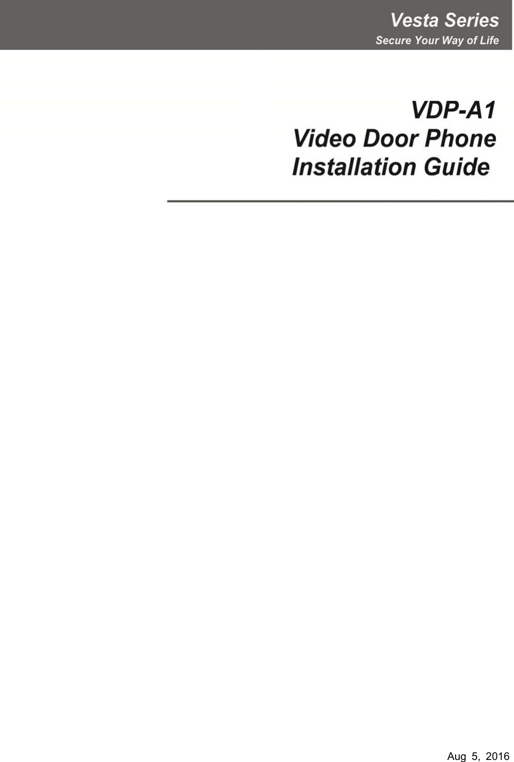 Climax Technology Co VDP Video Door Phone User Manual