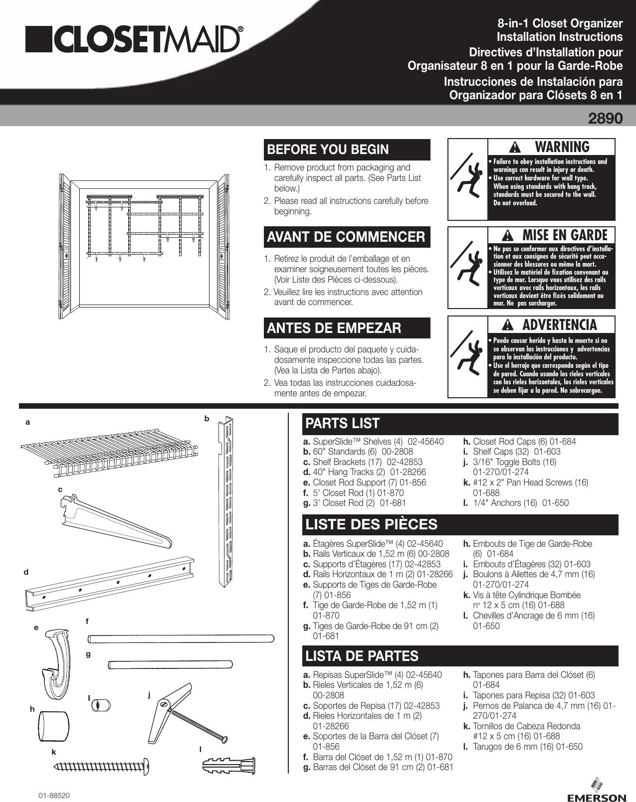Closet Maid 8 In 1 Organizer 2890 Users Manual 5566 Inst Sht Qxp