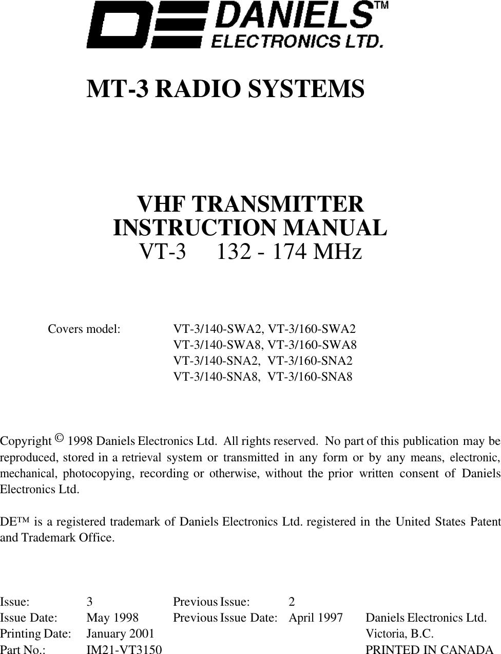 Codan Radio Communications Vt 3 150 Sn 140 160 Vhf Msd 8728 Rev Limiter Wiring Diagram Transmitters User Manual Im21 Vt3150amp Tx Amplifier