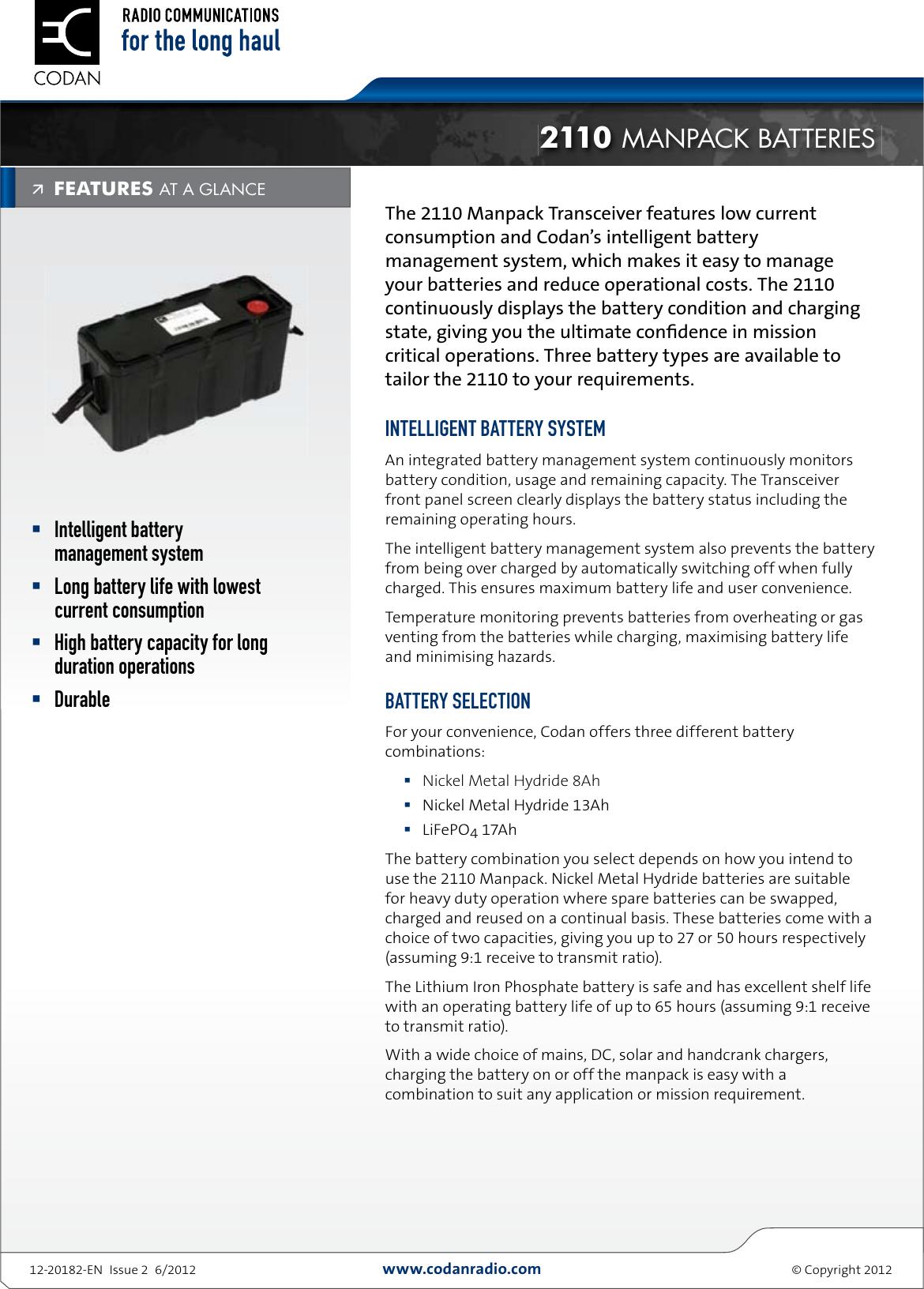 Codan Patrol 2110 Manpack Batteries