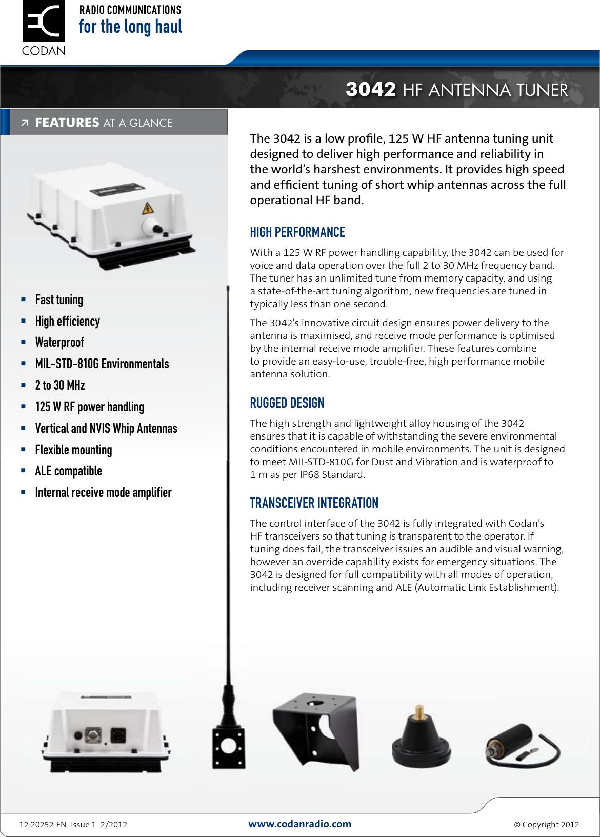 Codan 3042 hf antenna tuner datasheet