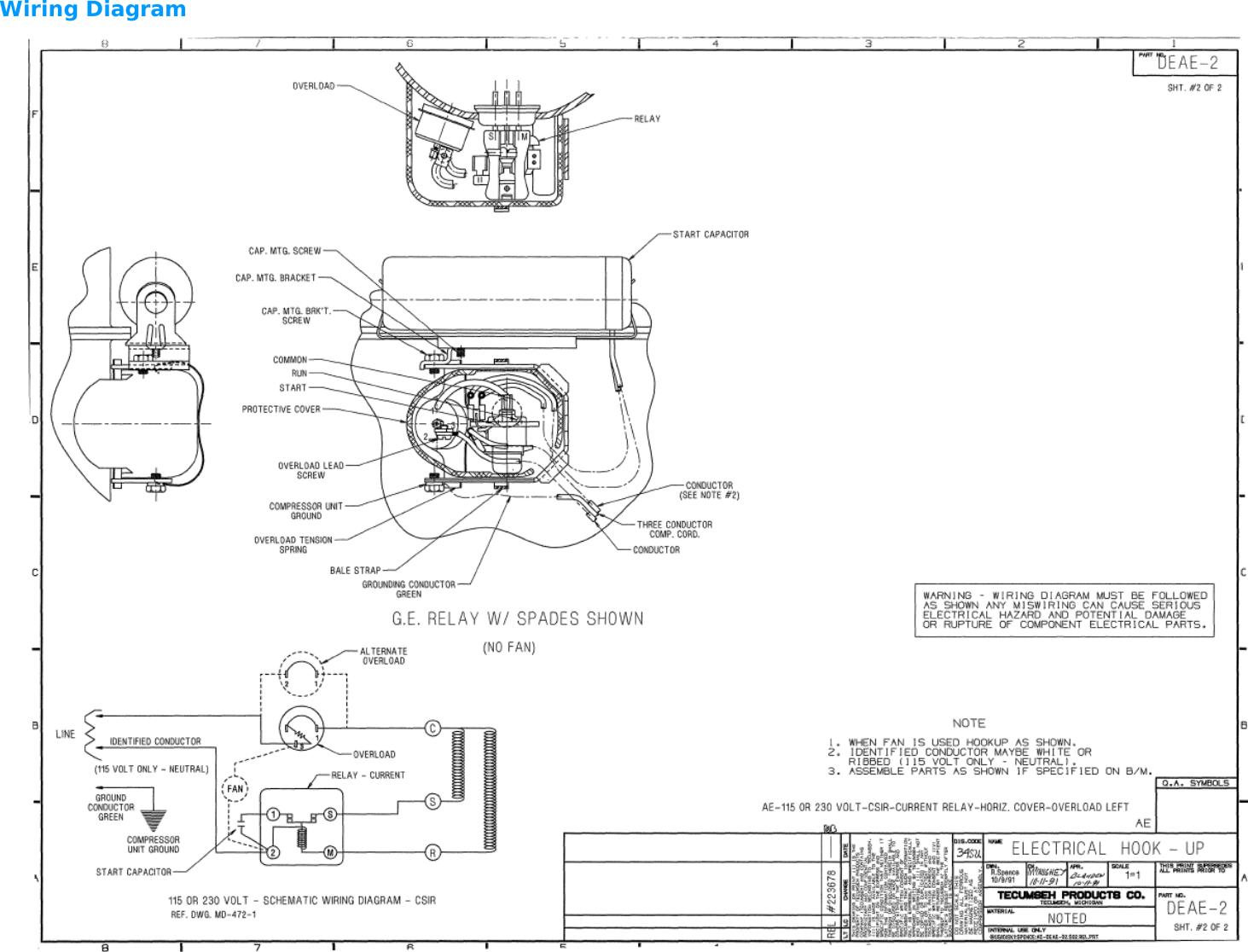 AEA4440YXA Compressor Data Sheet