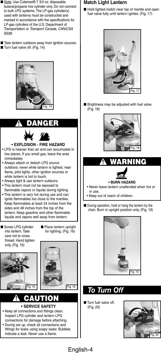 Coleman 3113 Users Manual 700 Series Butane / Propane Lantern