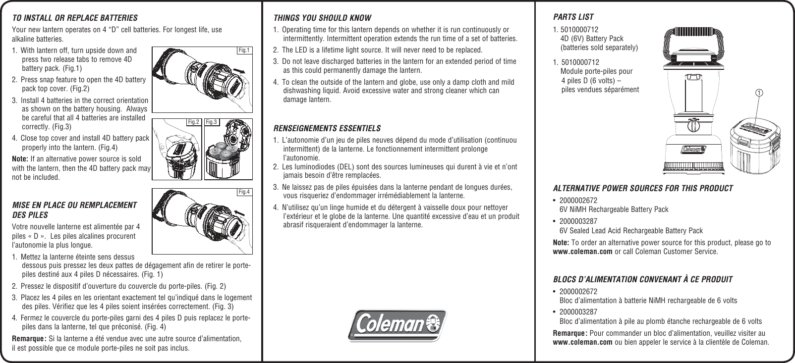 Coleman 4D Xps Users Manual 2000002442 Rugged LED Battery