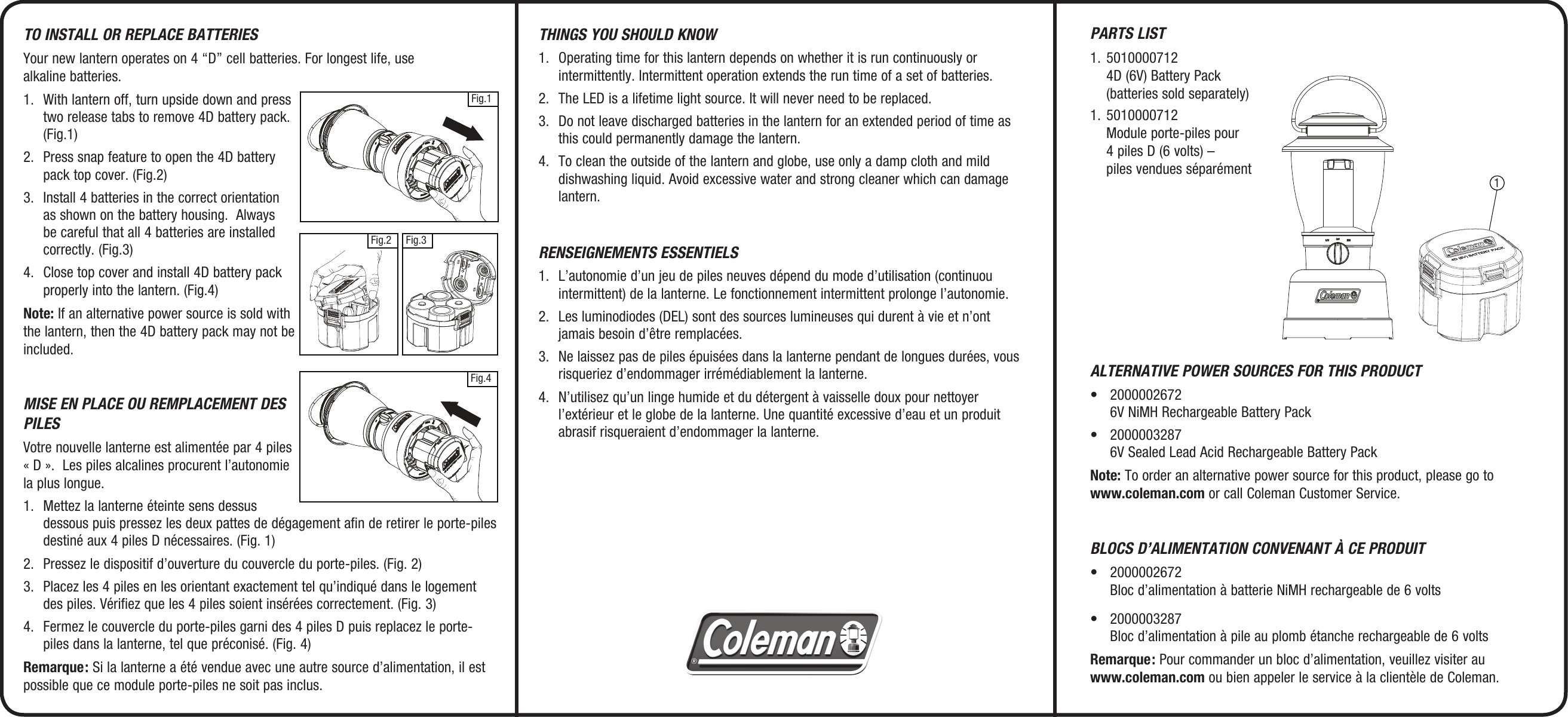 Coleman Camping Equipment 2000008554 Users Manual 2000002670