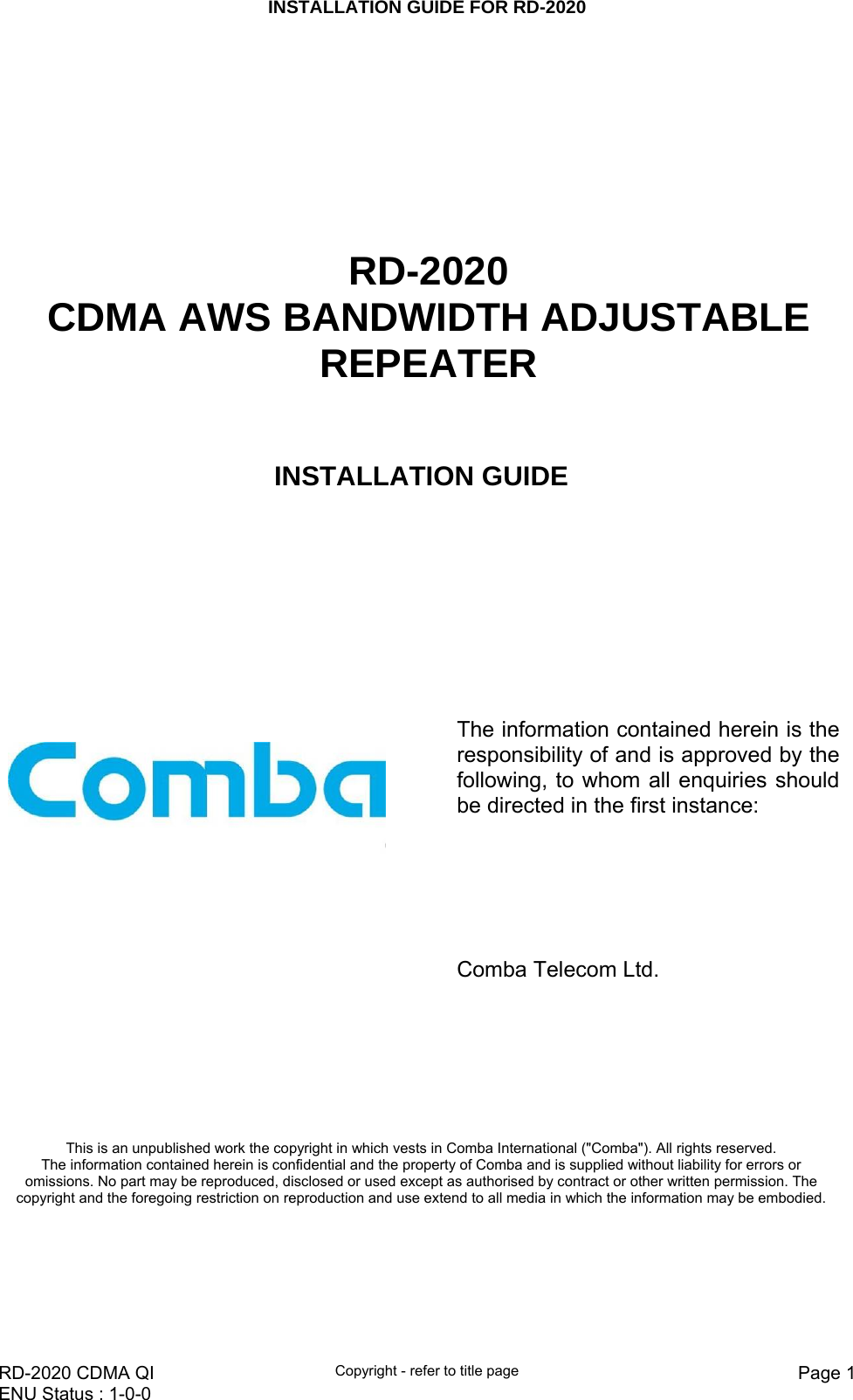 Comba Telecom RD-2020 RD2020 AWS Bandwidth Adjustable Repeater User