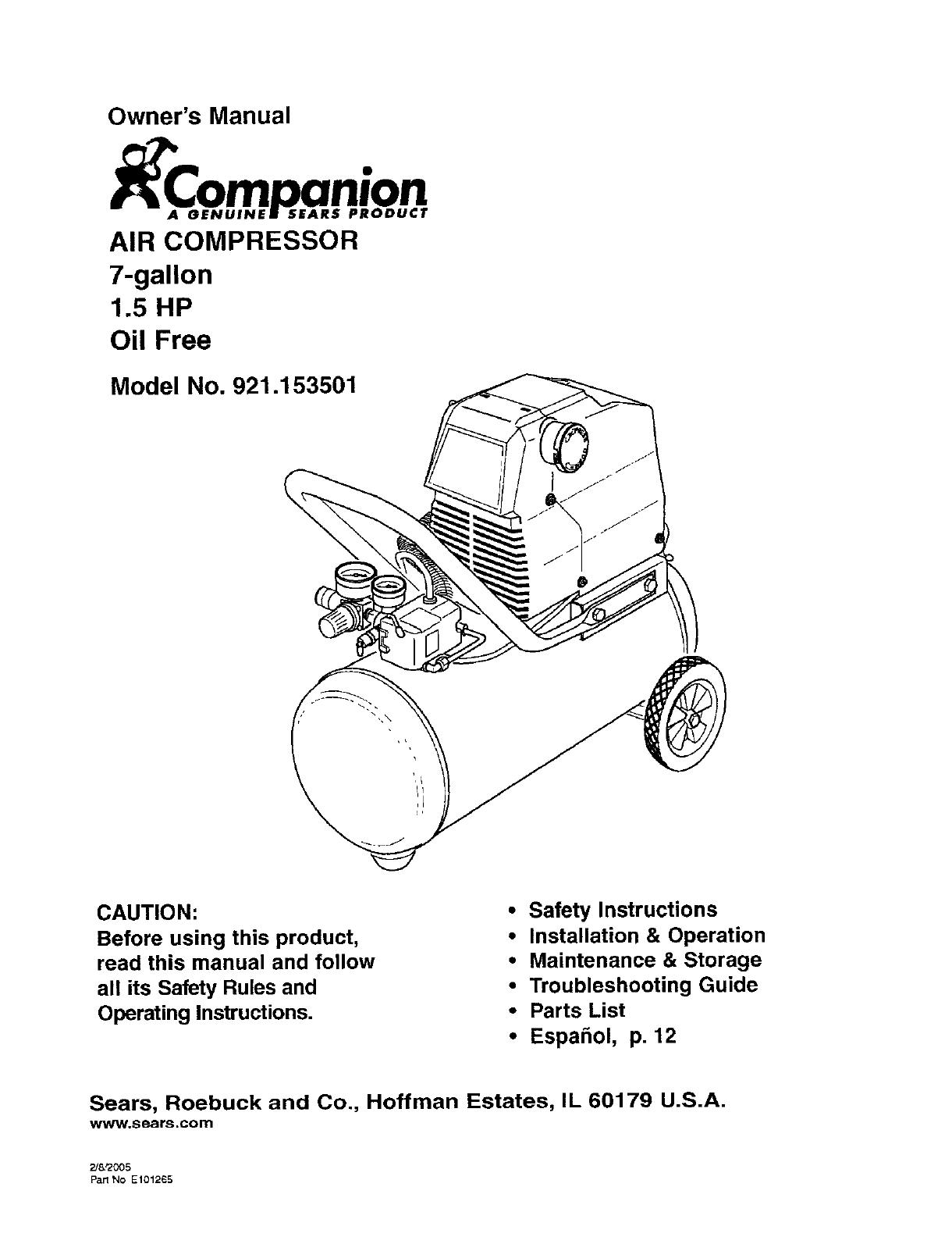 Companion 921153501 User Manual Air Compressor Manuals And Guides L0505102