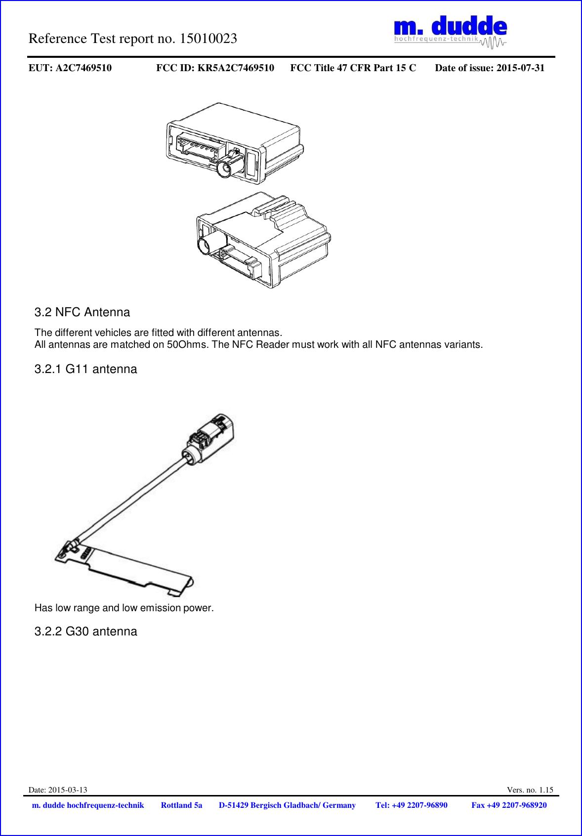Continental Automotive A2C7469510 NFC Reader User Manual