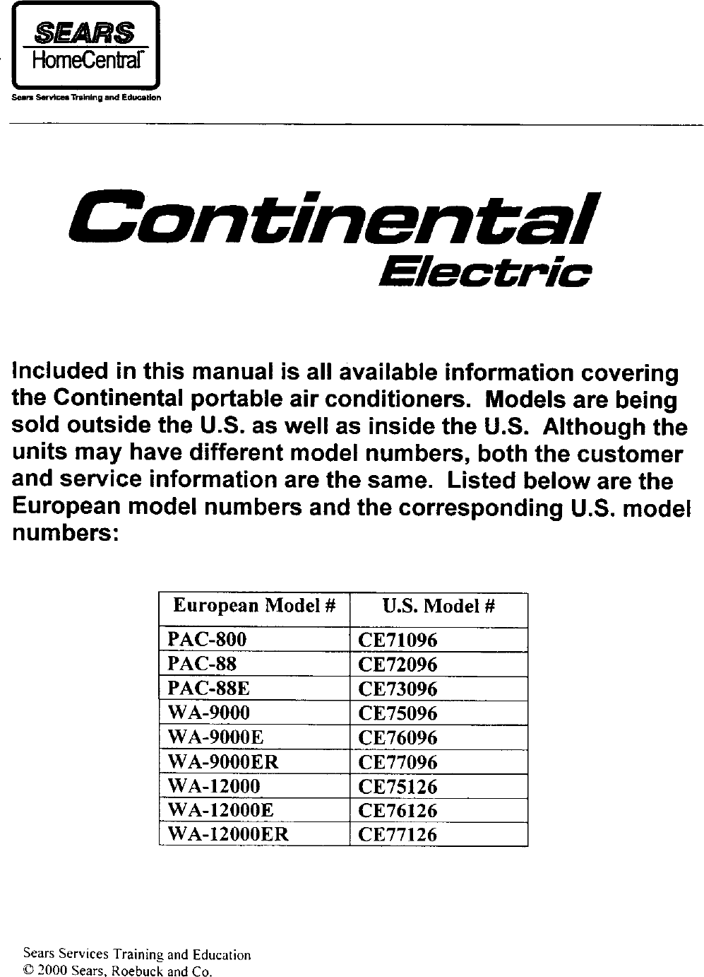 Continental Ce71096 User Manual Air Conditioner Manuals And Guides Vanair Wiring Diagram L0204118