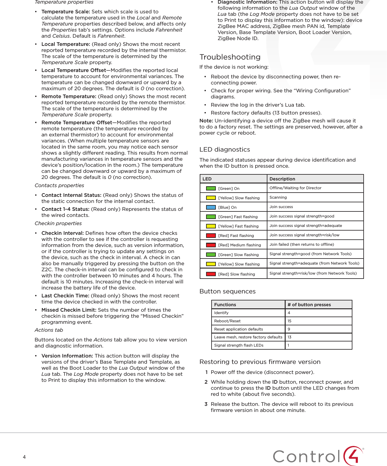Control4 C4z2io Zigbee To Io Transceiver User Manual Fahrenheit Wiring Diagram 4temperature Properties Temperature Scale Sets Which Is Used Calculate The