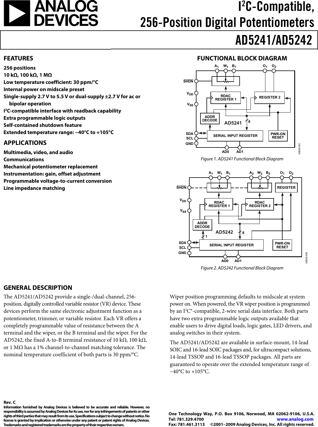Ad5241 Ad5242 Rev C 5242 0 To Measure The Resistance Of Digital Potentiometer In Circuit