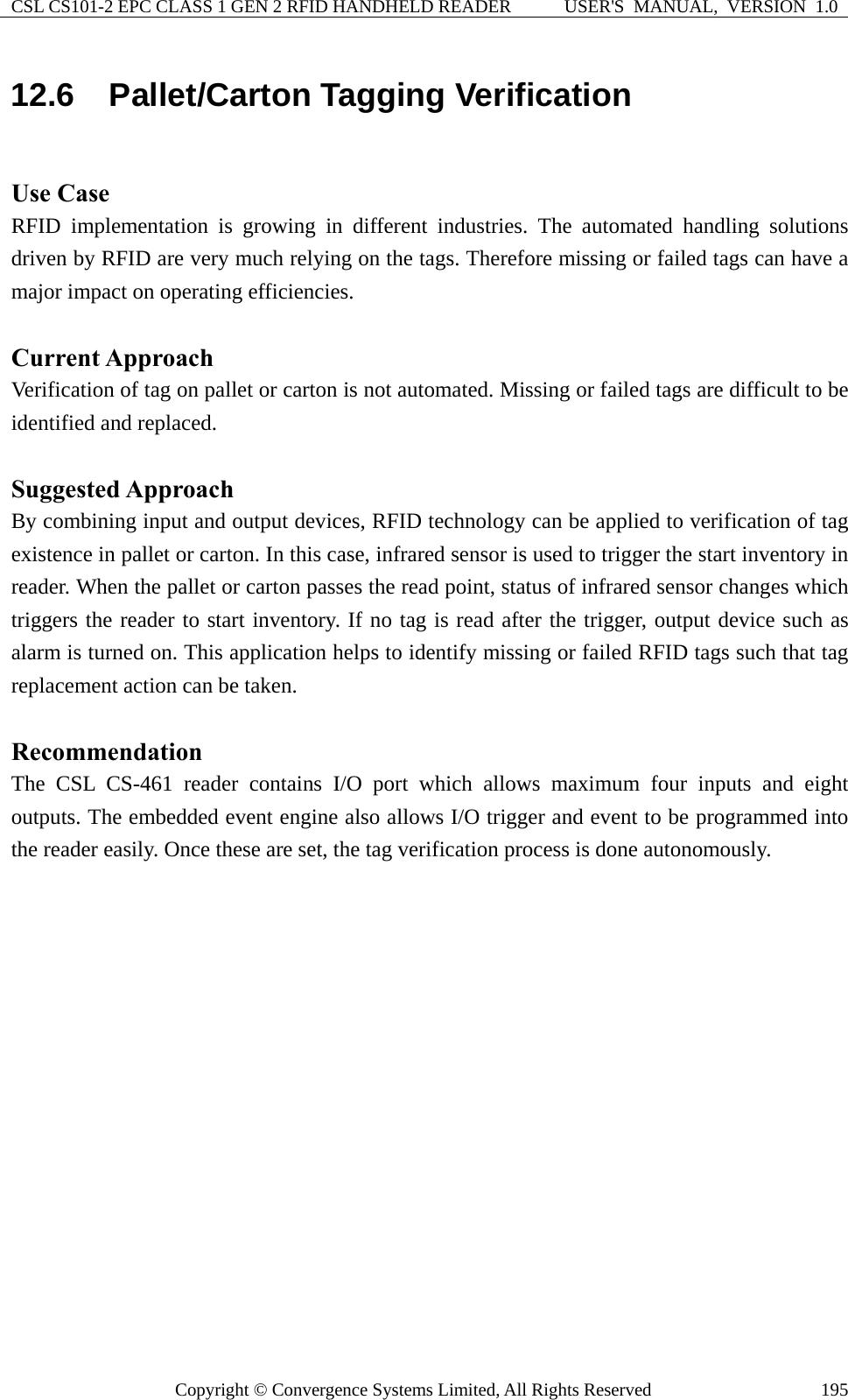 Convergence Systems CS101C1GEN2 Handheld Reader User Manual appendix