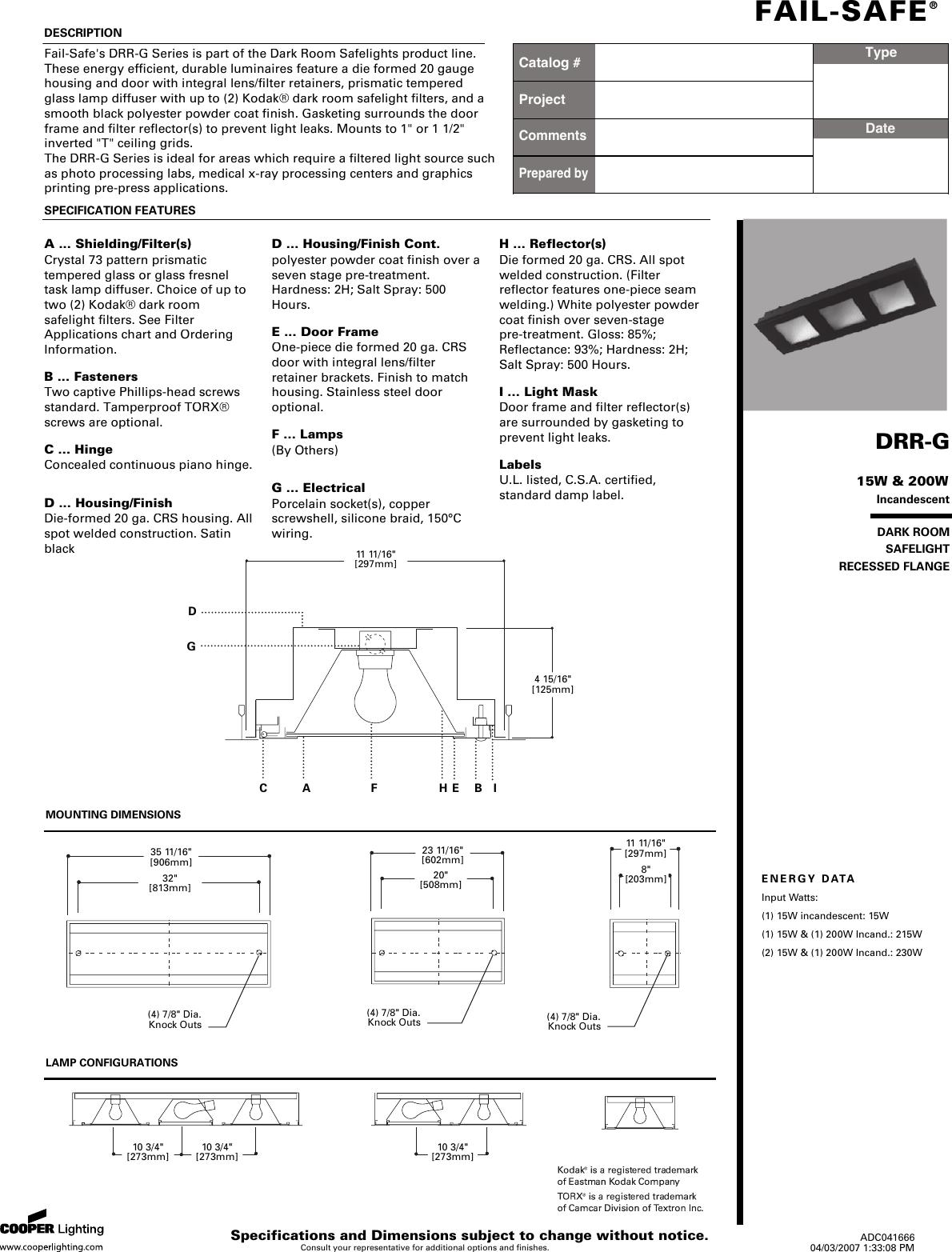 Cooper Lighting Fail Safe Drr G Users