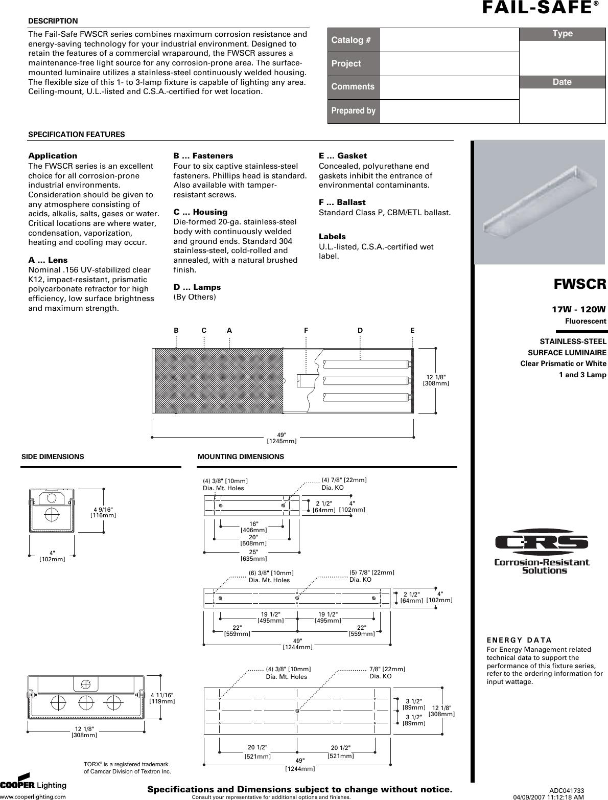 Cooper Lighting Fail Safe Fwscr Users Manual Annotatelumiere