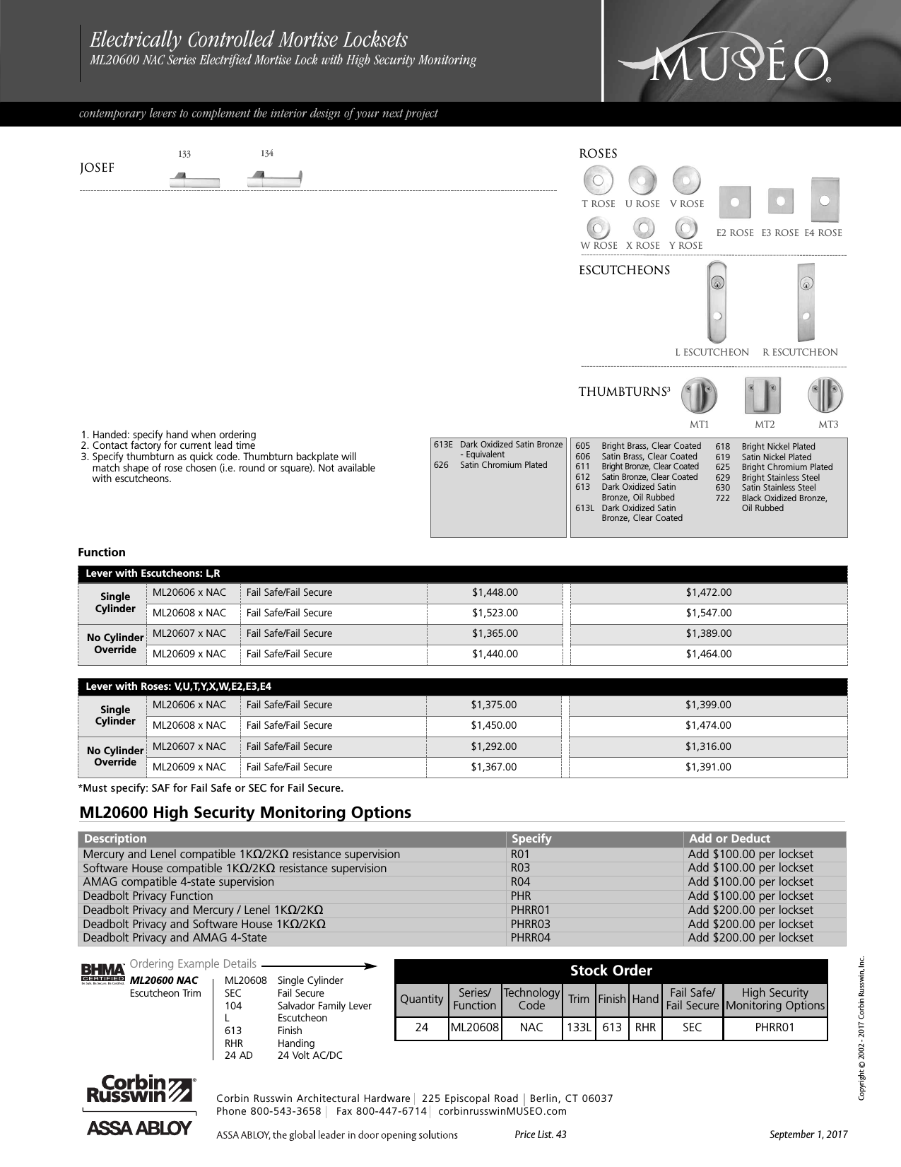 2-3//4 Backset Corbin Russwin CL3351-NZD-626-CL7 Grade 1 Entrance//Entry//Office Steel//Zinc//Brass Satin Chrome Non Handed 626