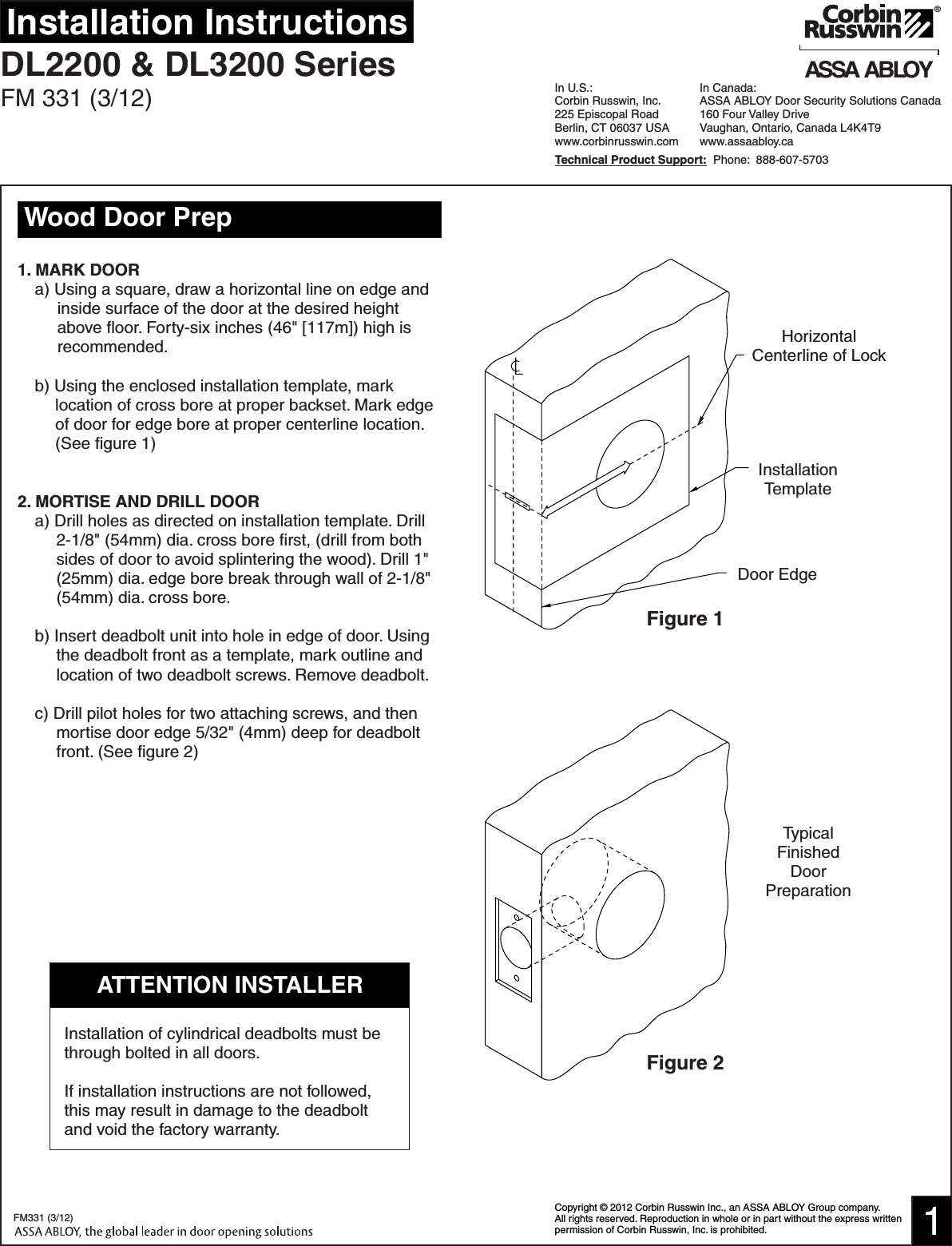 Corbin Russwin FM331 (03 12) DL2200/DL3200 Installation Instructions