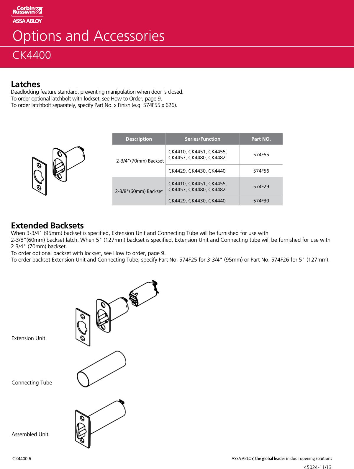 613 2-3//4 Backset Right Hand Reversible Steel//Bronze 2-3//4 Backset Corbin Russwin CK4455-GWC-613-KR Grade 2 Classroom Oil Rubbed Dark