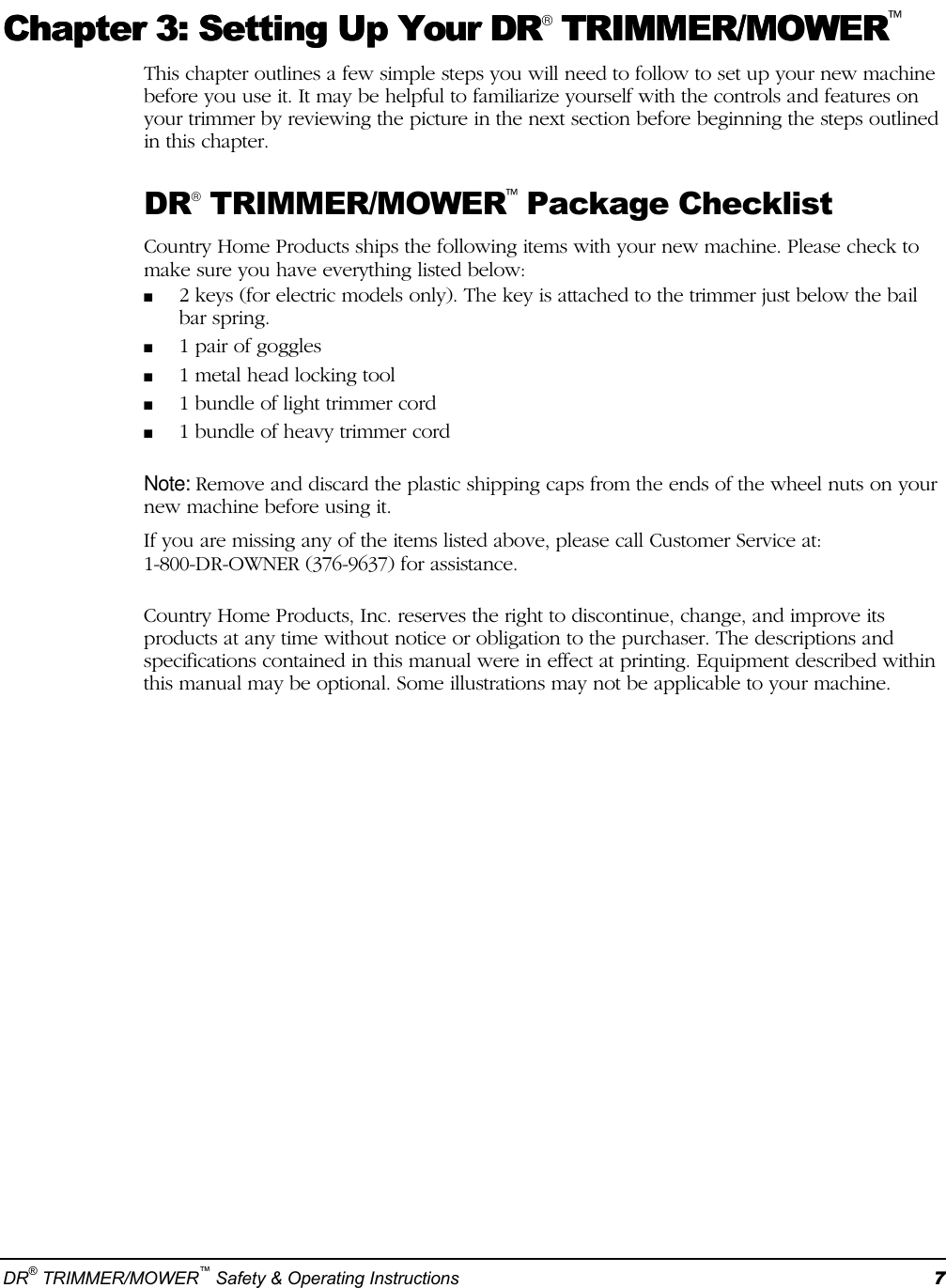 Country Home Products Mens Trimmer Users Manual DR Mower