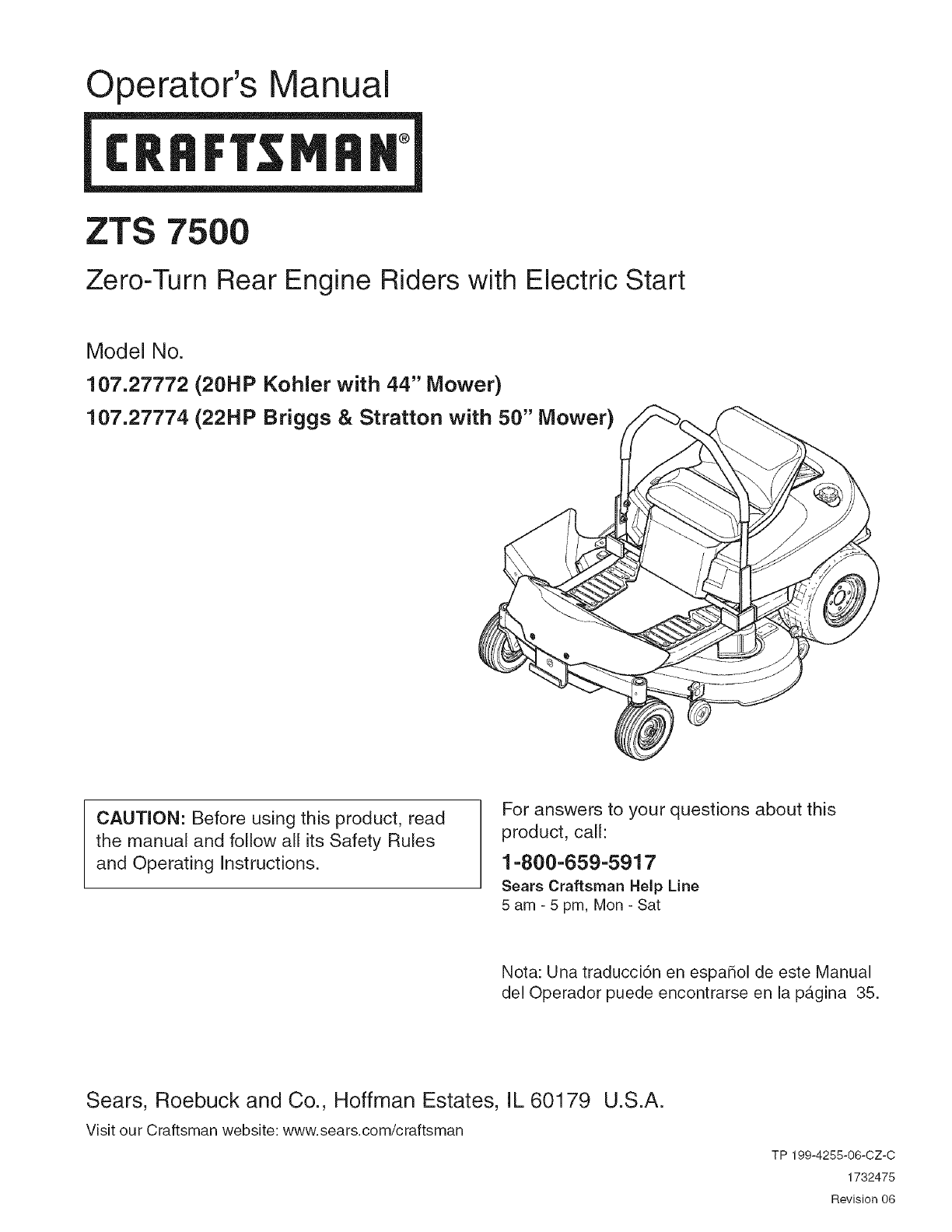 craftsman ezt manual