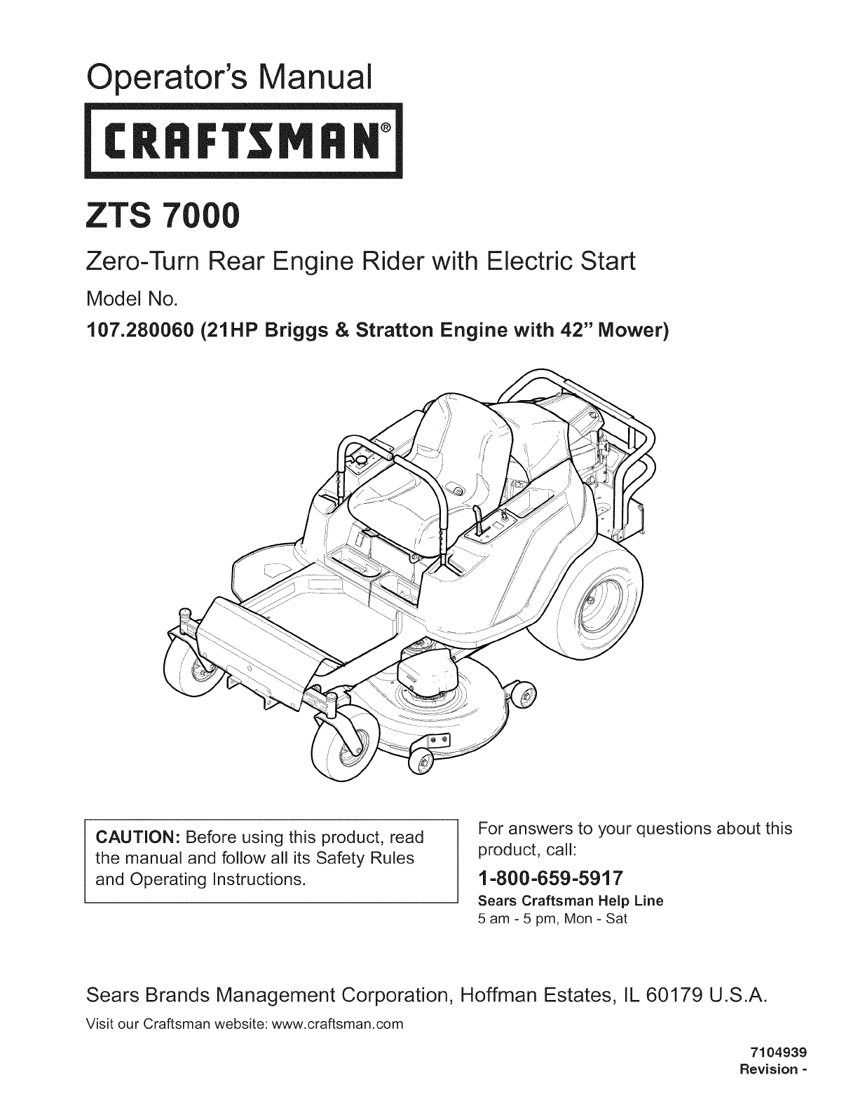 craftsman 107280060 user manual lawn tractor manuals and guides 1101254loperator\u0027s manual