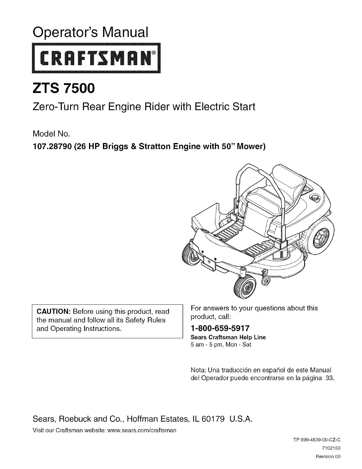 Craftsman 107287900 User Manual Zero Turn Rear Engine Rider Manuals Briggs 26 Stratton Diagram Operators