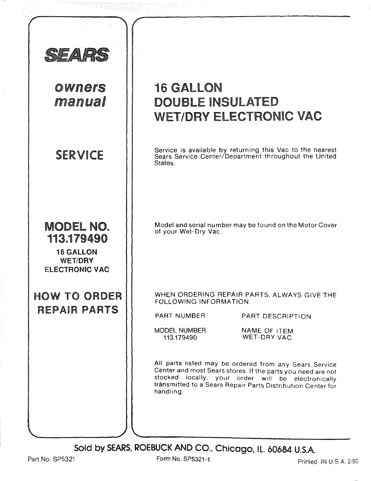 Craftsman 113179490 User Manual 16 GALLON ELECTRONIC WET DRY VAC ...
