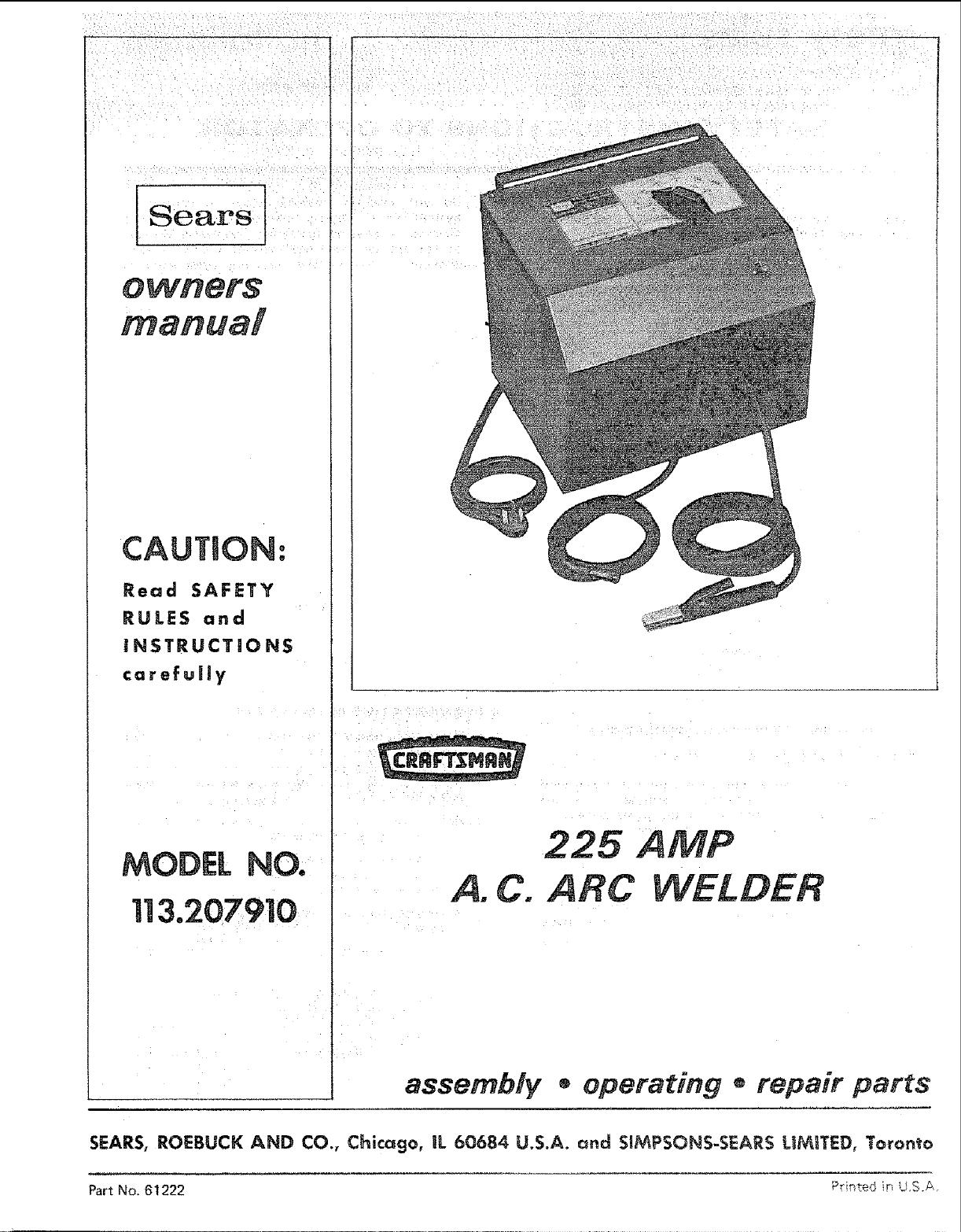 Craftsman 113207910 User Manual 225 Amp Ac Arc Welder Manuals And Wiring Diagram Guides L0806060