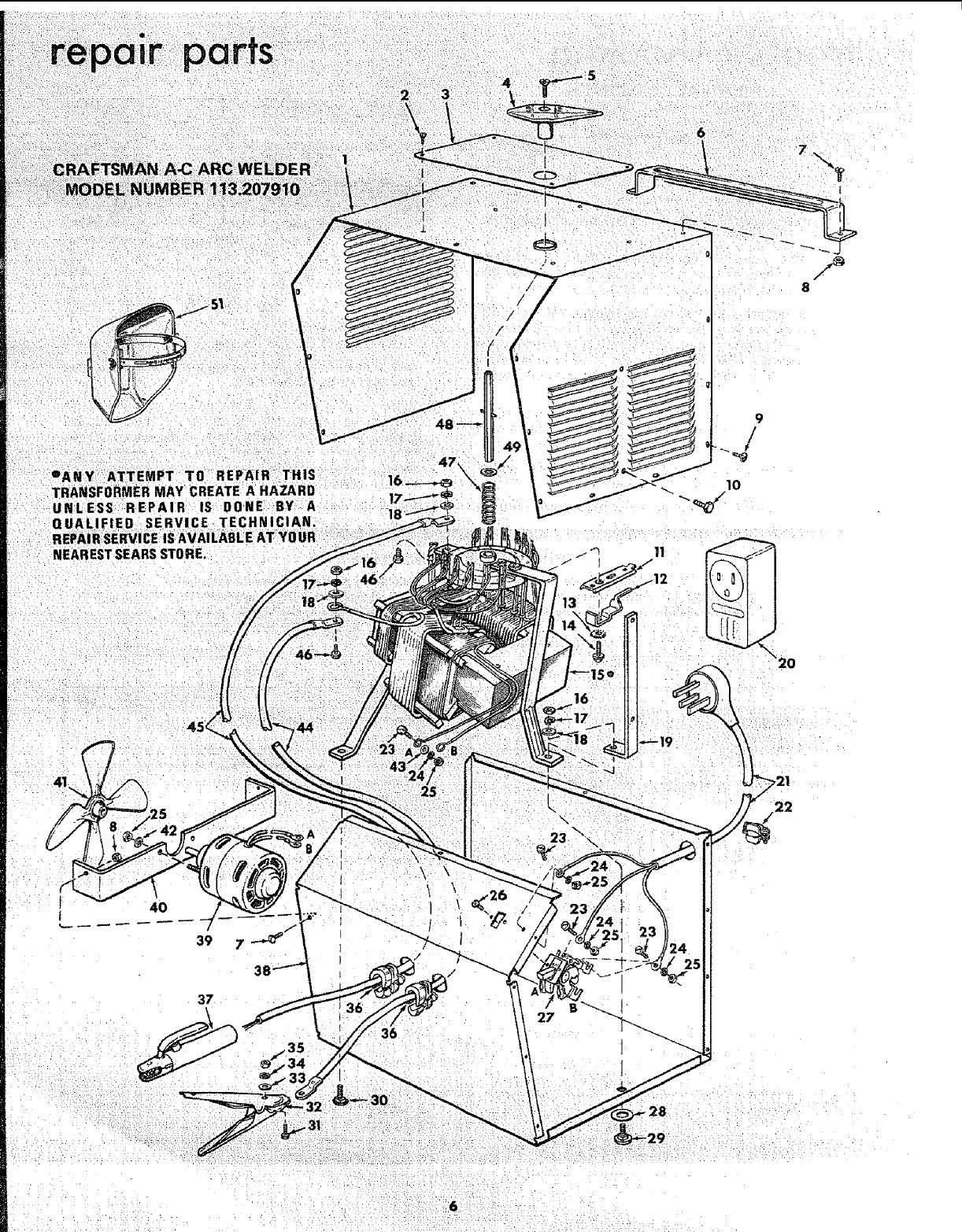 Craftsman 113207910 User Manual 225 Amp Ac Arc Welder Manuals And Wiring Diagram Parts