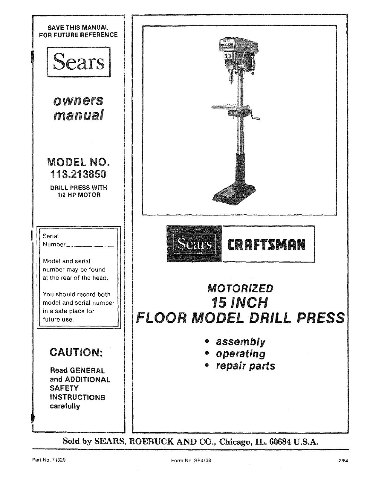 craftsman 113213850 user manual 15 inch drill press manuals and rh usermanual wiki Sears Drill Press Manuals Craftsman Radial Drill Press Parts