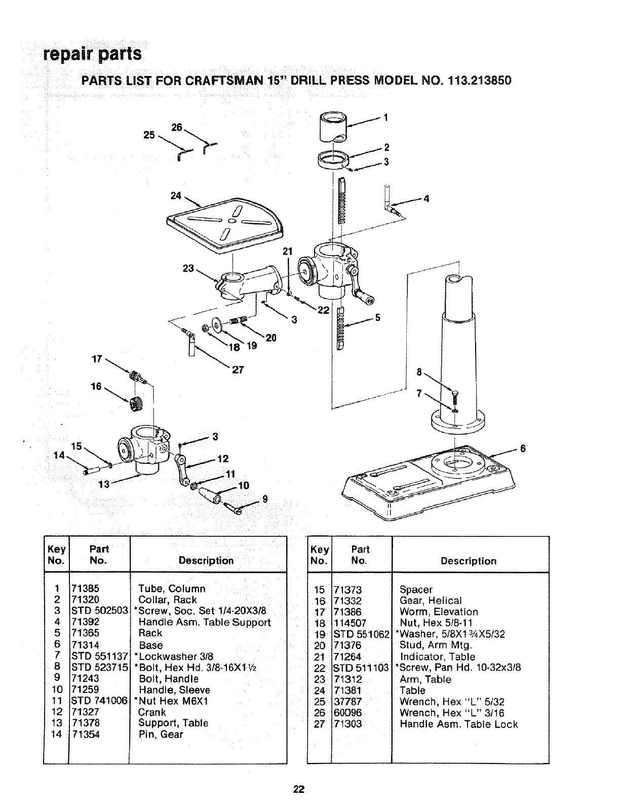Craftsman 113213850 User Manual 15 Inch Drill Press Manuals And Locking Circuit Board Support Spacer From Reliable Repairpa Ts