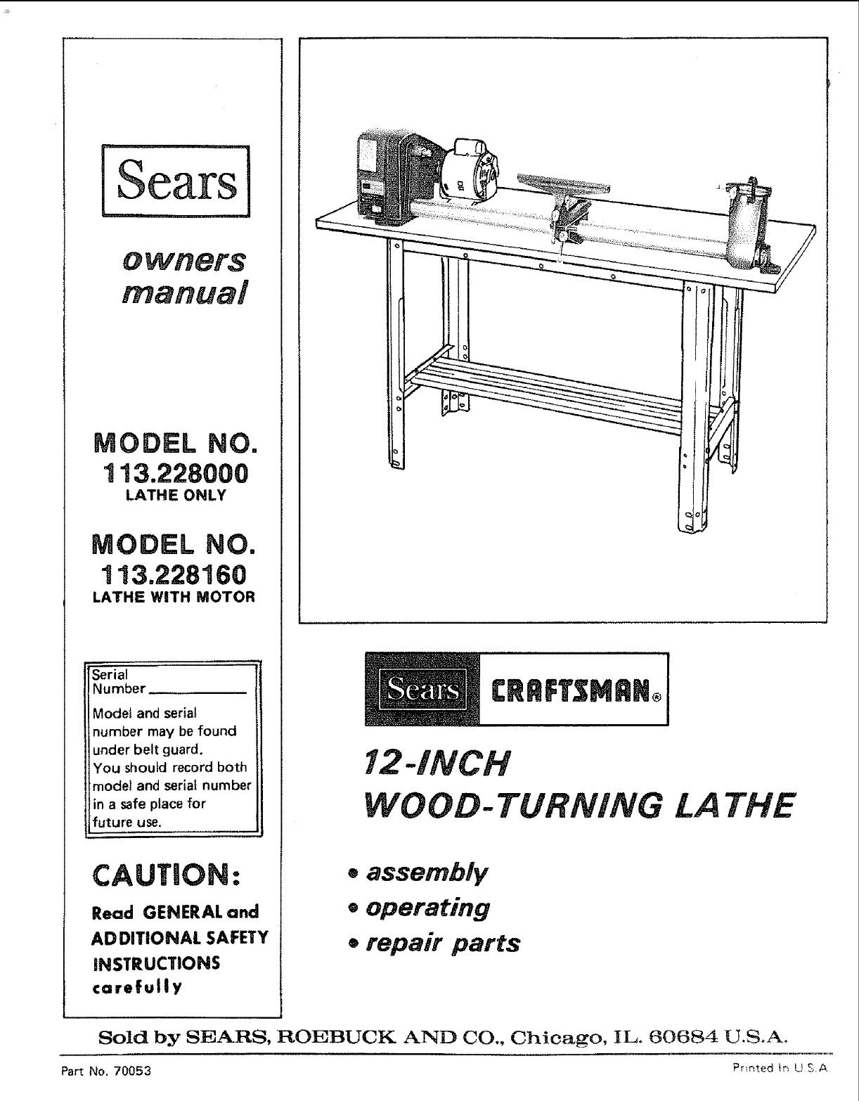 Phenomenal Craftsman 113228000 User Manual 12 Wood Turning Lathe Machost Co Dining Chair Design Ideas Machostcouk