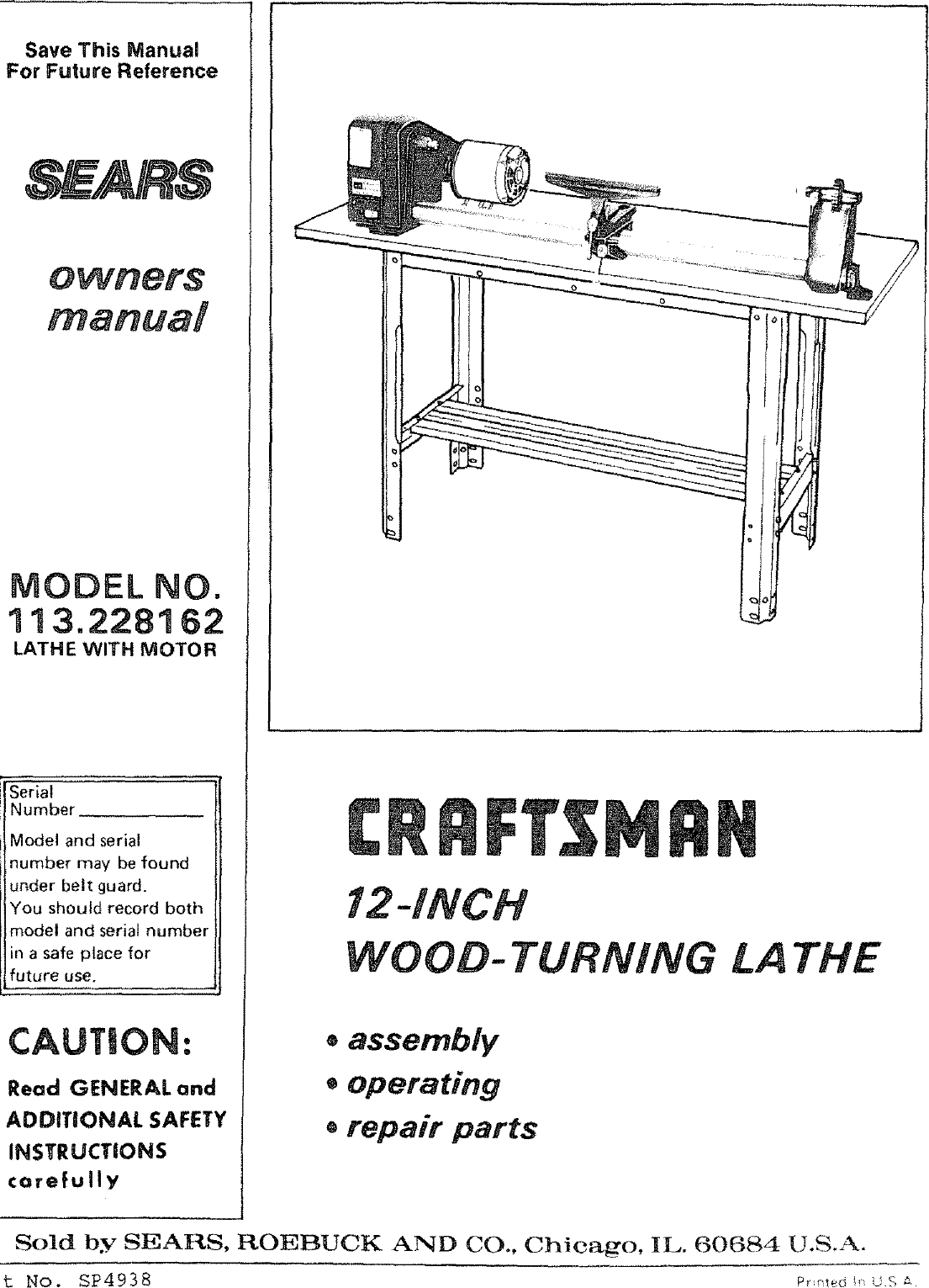 craftsman 113228162 user manual wood lathe manuals and guides l0803531