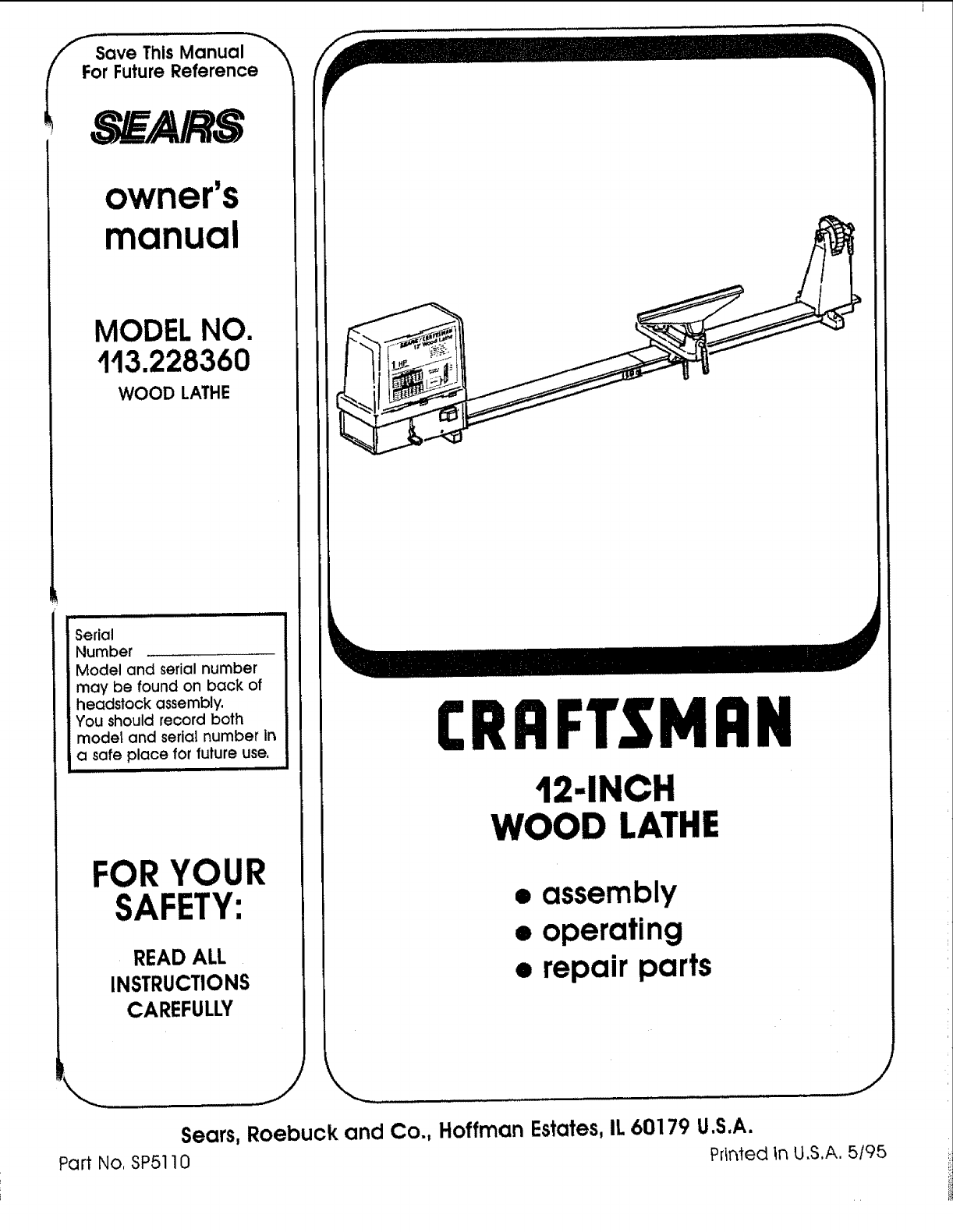 craftsman 113228360 user manual 12 inch wood lathe manuals and rh usermanual wiki